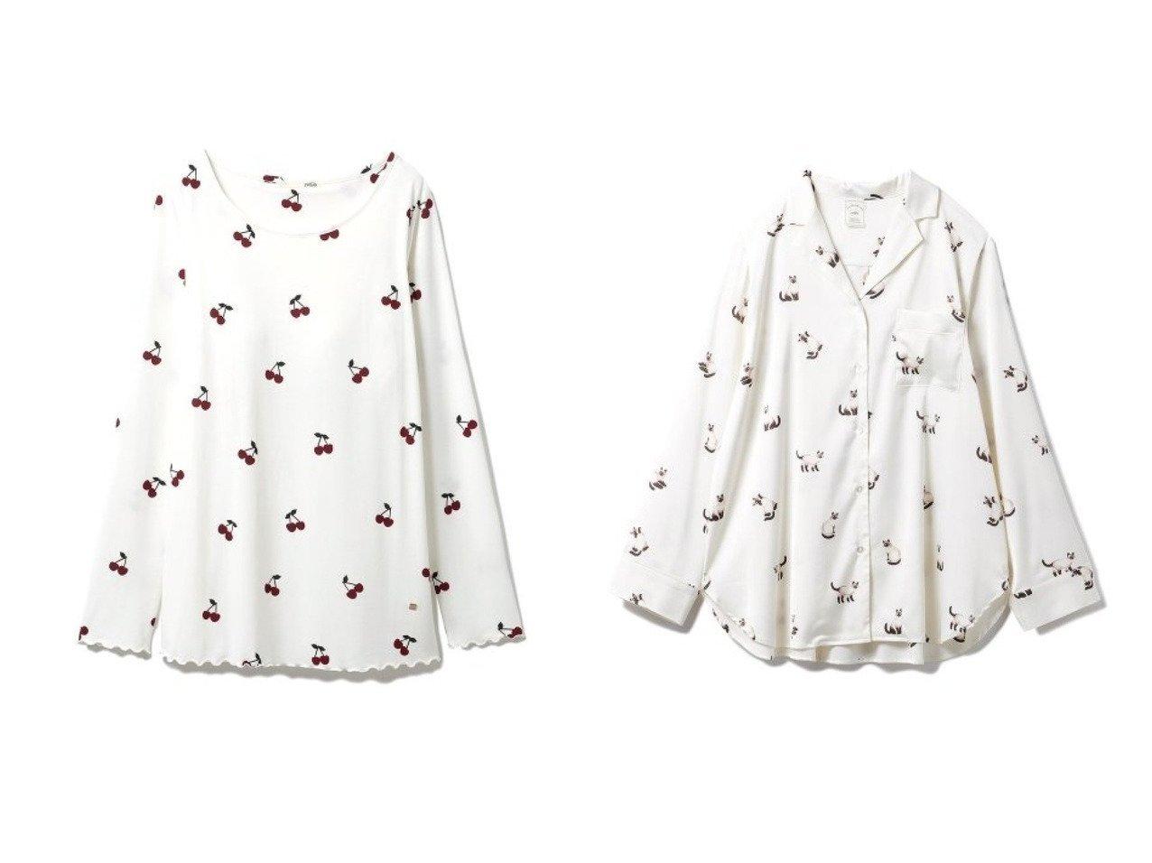 【gelato pique/ジェラート ピケ】のシャムネコサテンシャツ&チェリープルオーバー ホームウェアのおすすめ!人気、トレンド・レディースファッションの通販 おすすめで人気の流行・トレンド、ファッションの通販商品 メンズファッション・キッズファッション・インテリア・家具・レディースファッション・服の通販 founy(ファニー) https://founy.com/ ファッション Fashion レディースファッション WOMEN トップス Tops Tshirt シャツ/ブラウス Shirts Blouses ロング / Tシャツ T-Shirts プルオーバー Pullover カットソー Cut and Sewn カットソー ストレッチ チェリー リラックス レギンス ロング 再入荷 Restock/Back in Stock/Re Arrival サテン スタイリッシュ セットアップ ネコ バランス パジャマ プリント モチーフ 人気 吸水  ID:crp329100000009572