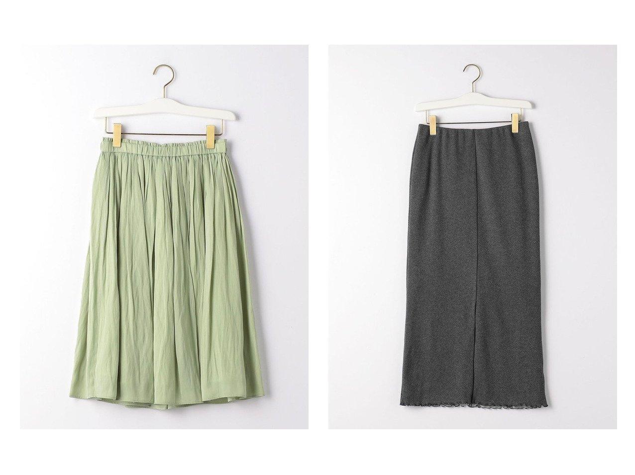 【green label relaxing / UNITED ARROWS/グリーンレーベル リラクシング / ユナイテッドアローズ】のCS monable マットサテン ギャザー スカート&【EMMEL REFINES】EM ROOM イージー タイトスカート スカートのおすすめ!人気、トレンド・レディースファッションの通販  おすすめで人気の流行・トレンド、ファッションの通販商品 メンズファッション・キッズファッション・インテリア・家具・レディースファッション・服の通販 founy(ファニー) https://founy.com/ ファッション Fashion レディースファッション WOMEN スカート Skirt Aライン/フレアスカート Flared A-Line Skirts NEW・新作・新着・新入荷 New Arrivals ギャザー サテン フレア A/W 秋冬 AW Autumn/Winter / FW Fall-Winter カットソー スリット タイトスカート チュニック パジャマ 楽ちん |ID:crp329100000009700