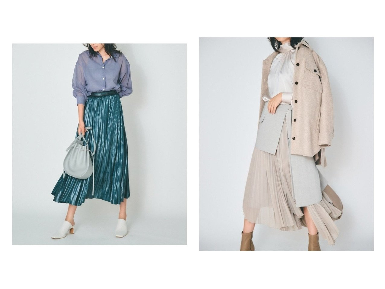 【FRAY I.D/フレイ アイディー】のレザーライクサテンプリーツSK&ラッププリーツSK スカートのおすすめ!人気、トレンド・レディースファッションの通販  おすすめで人気の流行・トレンド、ファッションの通販商品 メンズファッション・キッズファッション・インテリア・家具・レディースファッション・服の通販 founy(ファニー) https://founy.com/ ファッション Fashion レディースファッション WOMEN スカート Skirt プリーツスカート Pleated Skirts ギャザー サテン パイピング プリーツ アシンメトリー エアリー シフォン ドッキング ラップ |ID:crp329100000009716