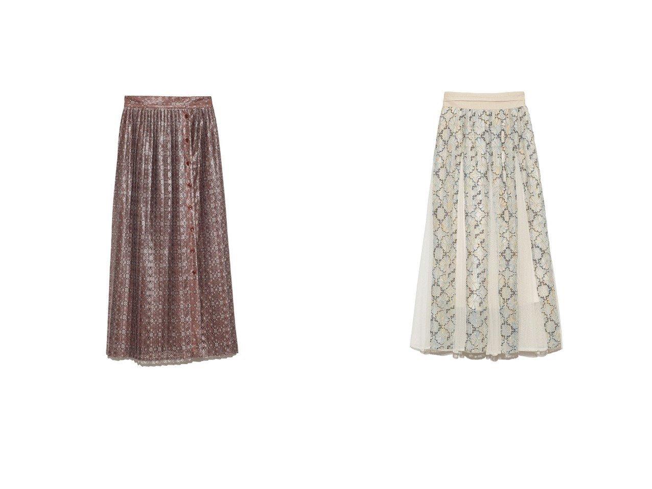 【Lily Brown/リリーブラウン】のレースドッキングスカート&切り替えチュールレーススカート スカートのおすすめ!人気、トレンド・レディースファッションの通販  おすすめで人気の流行・トレンド、ファッションの通販商品 メンズファッション・キッズファッション・インテリア・家具・レディースファッション・服の通販 founy(ファニー) https://founy.com/ ファッション Fashion レディースファッション WOMEN スカート Skirt スマート スリット プリーツ レース |ID:crp329100000009727