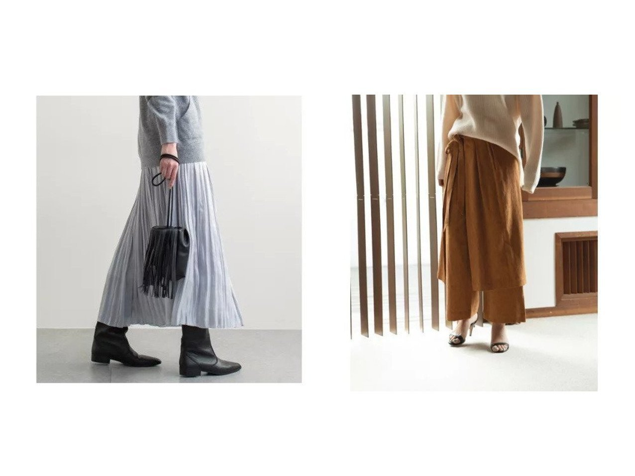 【marjour/マージュール】のWRAP SKIRT LAYERED PANTS&【GALLARDAGALANTE/ガリャルダガランテ】のシャイニープリーツスカート スカートのおすすめ!人気、トレンド・レディースファッションの通販  おすすめで人気の流行・トレンド、ファッションの通販商品 メンズファッション・キッズファッション・インテリア・家具・レディースファッション・服の通販 founy(ファニー) https://founy.com/ ファッション Fashion レディースファッション WOMEN スカート Skirt プリーツスカート Pleated Skirts 春 シャイニー シルバー プリーツ マキシ ランダム リラックス ロング シンプル ラップ |ID:crp329100000009731
