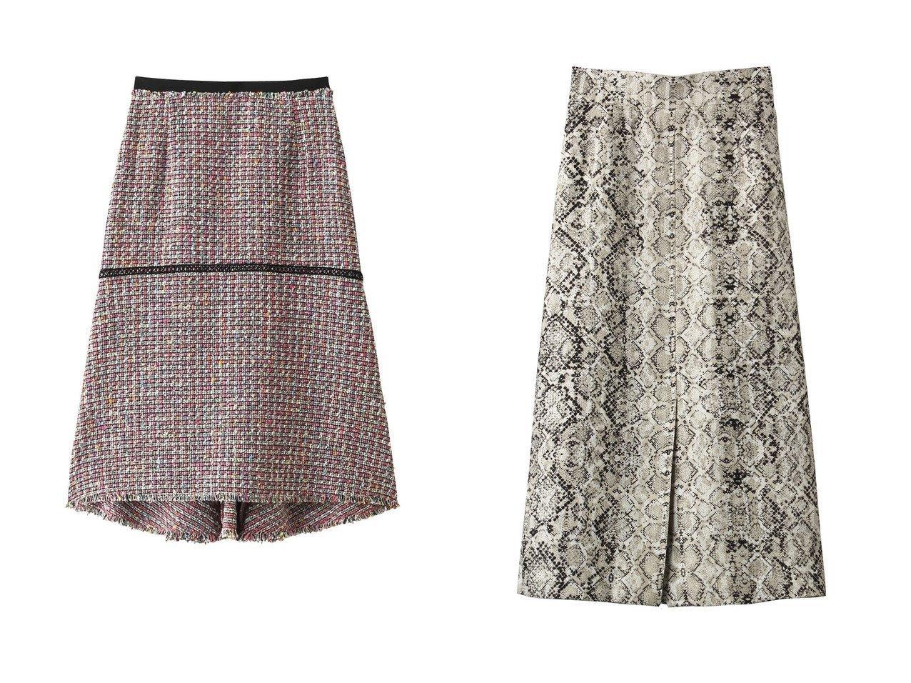 【allureville/アルアバイル】のパイソンプリントナロースカート&【Loulou Willoughby】カラーツイードペプラムスカート スカートのおすすめ!人気、トレンド・レディースファッションの通販  おすすめで人気の流行・トレンド、ファッションの通販商品 メンズファッション・キッズファッション・インテリア・家具・レディースファッション・服の通販 founy(ファニー) https://founy.com/ ファッション Fashion レディースファッション WOMEN スカート Skirt ロングスカート Long Skirt オケージョン ツイード フォルム ペプラム ロング スタイリッシュ スリット フロント ミモレ モダン |ID:crp329100000009775