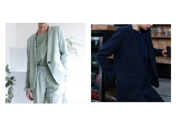 【niko and…/ニコアンド】の[BLACK BASIC STYLE]Wクロスノーカラージャケット アウターのおすすめ!人気、トレンド・レディースファッションの通販  おすすめファッション通販アイテム レディースファッション・服の通販 founy(ファニー) ファッション Fashion レディースファッション WOMEN アウター Coat Outerwear コート Coats ジャケット Jackets ノーカラージャケット No Collar Leather Jackets NEW・新作・新着・新入荷 New Arrivals シンプル ジャケット セットアップ バランス フォーマル モダン 人気 春 |ID:crp329100000009951