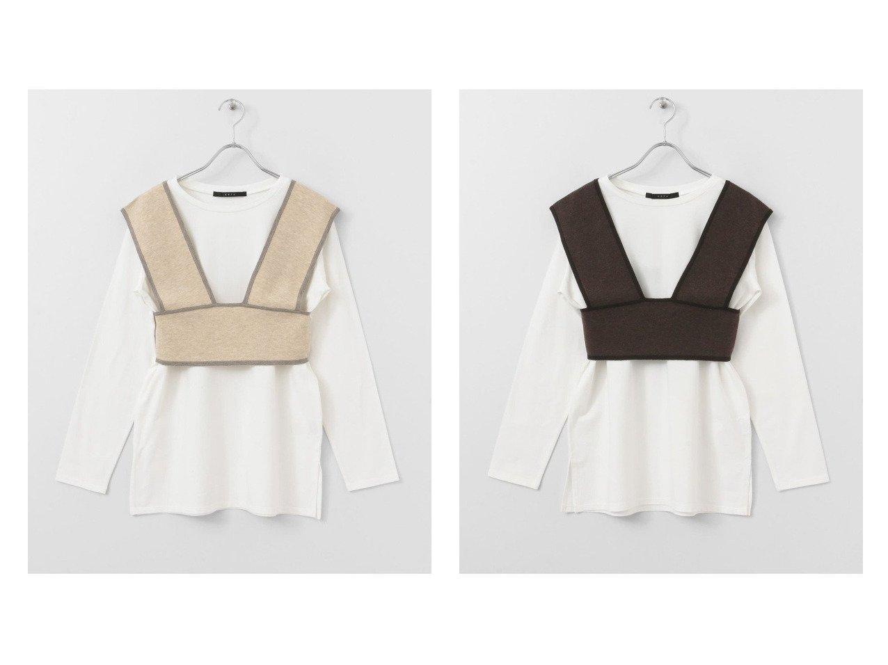 【KBF / URBAN RESEARCH/ケービーエフ】のKBF+ ニットベスト付ロングTシャツ アウターのおすすめ!人気、トレンド・レディースファッションの通販  おすすめで人気の流行・トレンド、ファッションの通販商品 メンズファッション・キッズファッション・インテリア・家具・レディースファッション・服の通販 founy(ファニー) https://founy.com/ ファッション Fashion レディースファッション WOMEN アウター Coat Outerwear トップス Tops Tshirt ニット Knit Tops シャツ/ブラウス Shirts Blouses ロング / Tシャツ T-Shirts ベスト/ジレ Gilets Vests カットソー Cut and Sewn カットソー シンプル スタンダード デニム ベスト ボトム ポケット ロング 定番 |ID:crp329100000010003