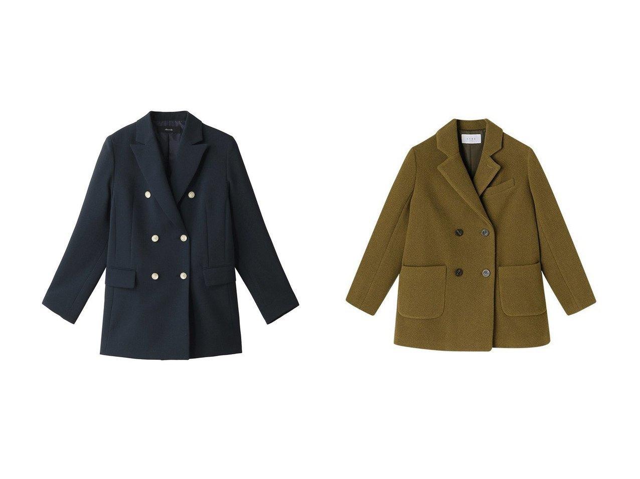 【allureville/アルアバイル】のバックサテンダブルブレストジャケット&【ETRE TOKYO/エトレトウキョウ】のダブルブレストミディコート アウターのおすすめ!人気、トレンド・レディースファッションの通販  おすすめで人気の流行・トレンド、ファッションの通販商品 メンズファッション・キッズファッション・インテリア・家具・レディースファッション・服の通販 founy(ファニー) https://founy.com/ ファッション Fashion レディースファッション WOMEN アウター Coat Outerwear ジャケット Jackets バッグ Bag コート Coats なめらか サテン ジャケット ダブル クラシカル ショート ダウン バランス フォーマル フロント ポケット |ID:crp329100000010068