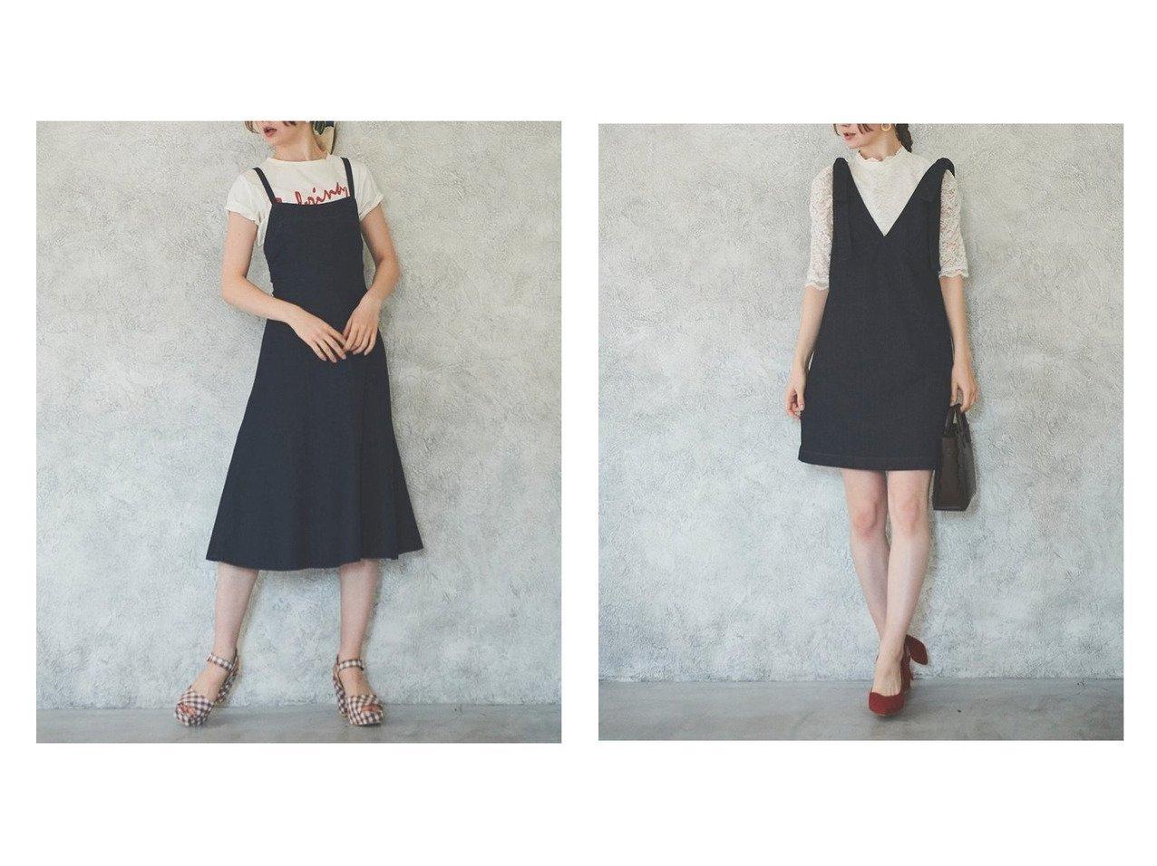 【31 Sons de mode/トランテアン ソン ドゥ モード】のフレアデニムジャンスカ&リボンショルダーデニムミニワンピース ワンピース・ドレスのおすすめ!人気、トレンド・レディースファッションの通販  おすすめで人気の流行・トレンド、ファッションの通販商品 メンズファッション・キッズファッション・インテリア・家具・レディースファッション・服の通販 founy(ファニー) https://founy.com/ ファッション Fashion レディースファッション WOMEN ワンピース Dress キャミワンピース No Sleeve Dresses キャミワンピース シンプル フェミニン リブニット リボン レース |ID:crp329100000010081
