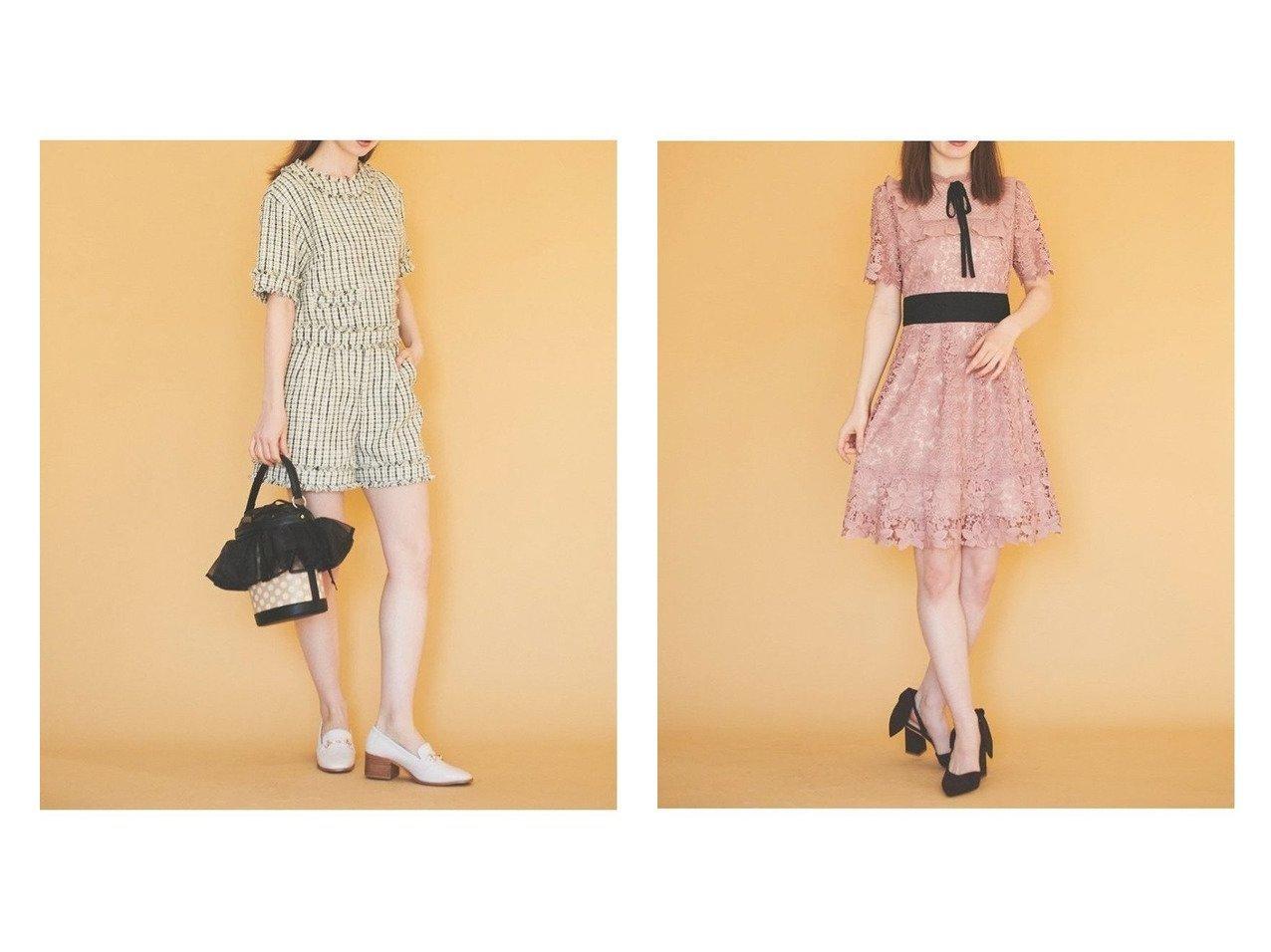 【31 Sons de mode/トランテアン ソン ドゥ モード】のツイードセットアップ&ケミカルレースワンピース ワンピース・ドレスのおすすめ!人気、トレンド・レディースファッションの通販  おすすめで人気の流行・トレンド、ファッションの通販商品 メンズファッション・キッズファッション・インテリア・家具・レディースファッション・服の通販 founy(ファニー) https://founy.com/ ファッション Fashion レディースファッション WOMEN ワンピース Dress 2021年 2021 2021 春夏 S/S SS Spring/Summer 2021 S/S 春夏 SS Spring/Summer クラシカル ショート セットアップ ツイード デニム フェミニン ベーシック リボン 半袖 春 ガーリー シューズ パーティ フラット フレア レース ヴィンテージ |ID:crp329100000010082