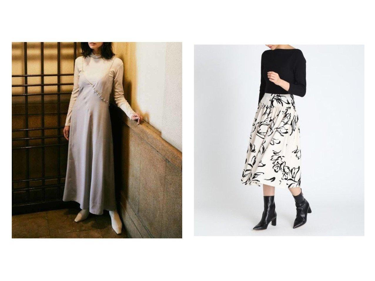 【CELFORD/セルフォード】の花柄フロッキードッキングOP&【FRAY I.D/フレイ アイディー】のカットコンビキャミワンピース ワンピース・ドレスのおすすめ!人気、トレンド・レディースファッションの通販  おすすめで人気の流行・トレンド、ファッションの通販商品 メンズファッション・キッズファッション・インテリア・家具・レディースファッション・服の通販 founy(ファニー) https://founy.com/ ファッションモデル・俳優・女優 Models 女性 Women 田中みな実 Tanaka Minami ファッション Fashion レディースファッション WOMEN ワンピース Dress キャミワンピース No Sleeve Dresses マキシワンピース Maxi Dress インナー カットソー キャミワンピース コンパクト コンビ サテン ショルダー フィット マキシ ラベンダー ロング 再入荷 Restock/Back in Stock/Re Arrival |ID:crp329100000010101