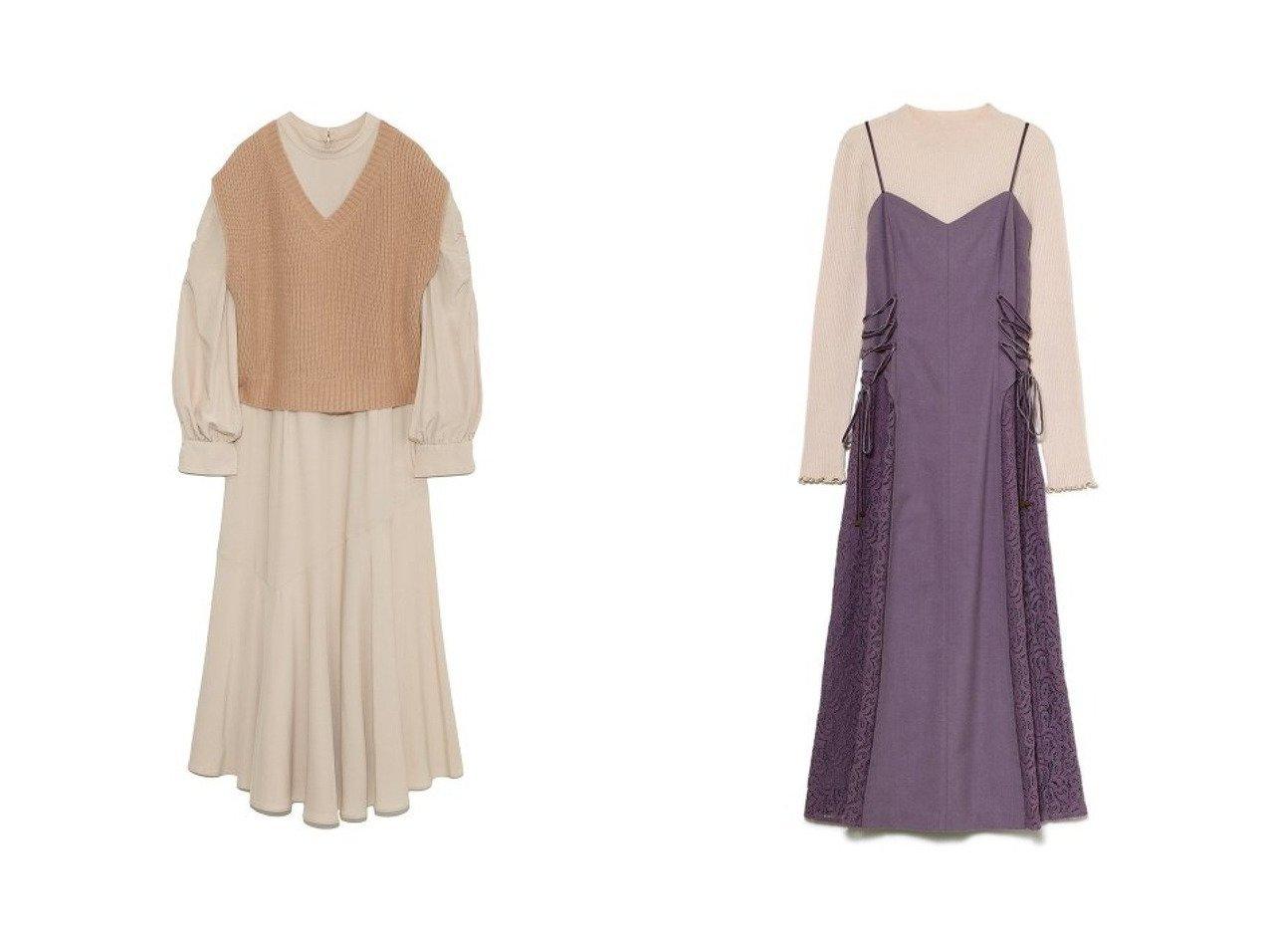 【Lily Brown/リリーブラウン】のニットベストワンピース&異素材切替えワンピニットセット ワンピース・ドレスのおすすめ!人気、トレンド・レディースファッションの通販  おすすめで人気の流行・トレンド、ファッションの通販商品 メンズファッション・キッズファッション・インテリア・家具・レディースファッション・服の通販 founy(ファニー) https://founy.com/ ファッション Fashion レディースファッション WOMEN アウター Coat Outerwear ワンピース Dress マキシワンピース Maxi Dress ギャザー ダウン フェミニン フレア ベスト マキシ ロング |ID:crp329100000010184