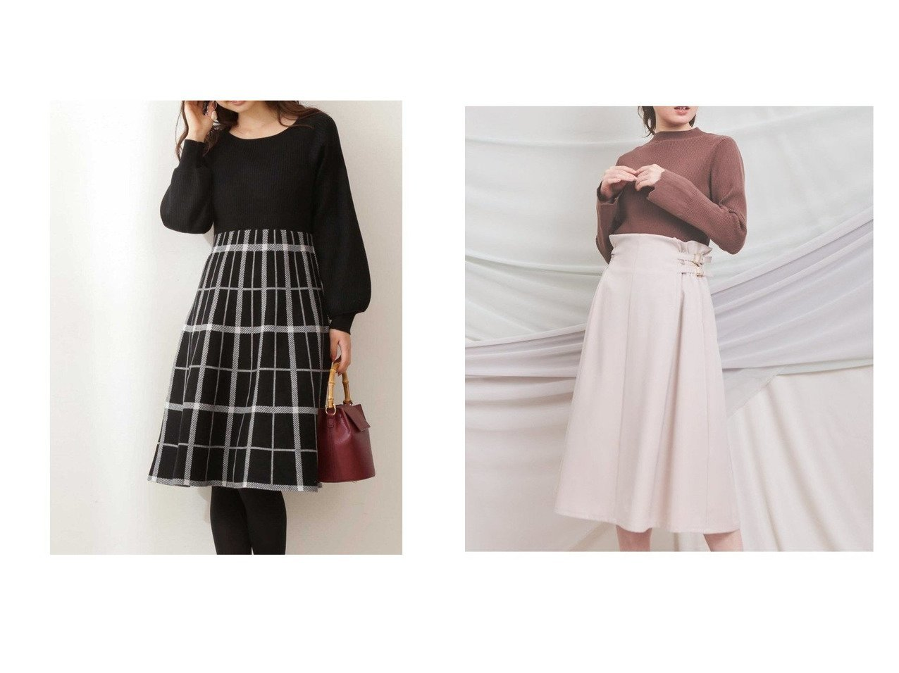 【Noela/ノエラ】のベルテッドジャンスカ&【PROPORTION BODY DRESSING/プロポーション ボディドレッシング】のチェックニットワンピース ワンピース・ドレスのおすすめ!人気、トレンド・レディースファッションの通販  おすすめで人気の流行・トレンド、ファッションの通販商品 メンズファッション・キッズファッション・インテリア・家具・レディースファッション・服の通販 founy(ファニー) https://founy.com/ ファッション Fashion レディースファッション WOMEN ワンピース Dress ニットワンピース Knit Dresses タイツ チェック デコルテ ドッキング フィット フレア リブニット ロング 冬 Winter ハイネック |ID:crp329100000010190