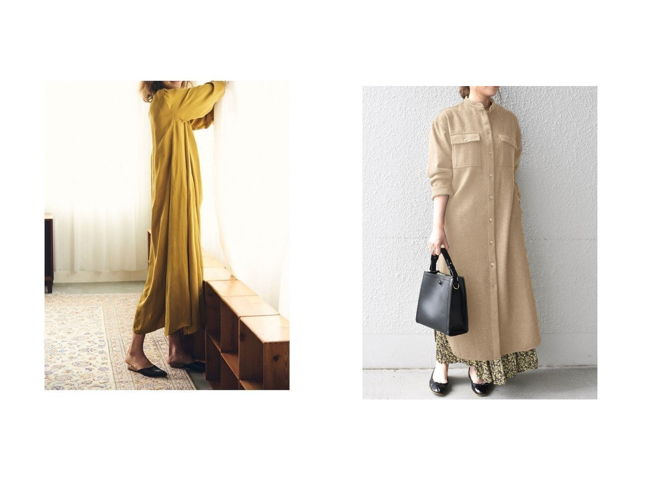 【SHIPS any/シップス エニィ】のSHIPS any: ウール メランジ シャツワンピース&【Demi-Luxe BEAMS/デミルクス ビームス】のAK+ タック ロングワンピース ワンピース・ドレスのおすすめ!人気、トレンド・レディースファッションの通販  おすすめで人気の流行・トレンド、ファッションの通販商品 メンズファッション・キッズファッション・インテリア・家具・レディースファッション・服の通販 founy(ファニー) https://founy.com/ ファッション Fashion レディースファッション WOMEN ワンピース Dress シャツワンピース Shirt Dresses エレガント キュプラ クラシカル スリーブ パターン ブラウジング ベーシック メンズ ロング インナー カフス ショルダー スタンド タートルネック ドロップ バランス ポケット メランジ 冬 Winter |ID:crp329100000010199