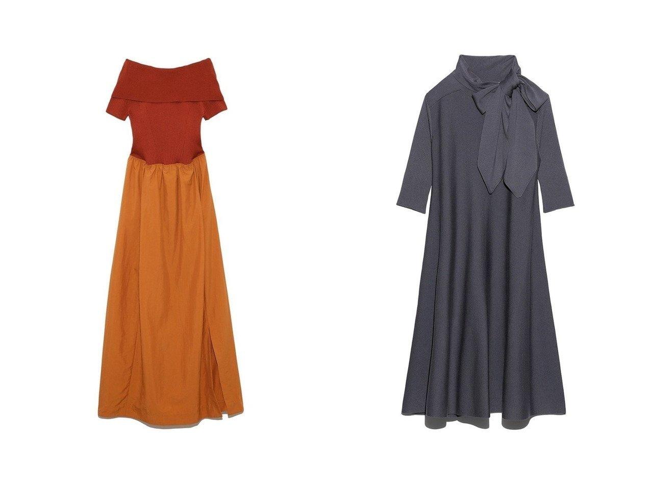 【styling/スタイリング】のオフショルダー ドッキングドレス&【FURFUR/ファーファー】のボウタイニットワンピース ワンピース・ドレスのおすすめ!人気、トレンド・レディースファッションの通販  おすすめで人気の流行・トレンド、ファッションの通販商品 メンズファッション・キッズファッション・インテリア・家具・レディースファッション・服の通販 founy(ファニー) https://founy.com/ ファッション Fashion レディースファッション WOMEN ワンピース Dress ドレス Party Dresses ニットワンピース Knit Dresses オフショルダー デコルテ ドッキング ドレス バランス ロング クラシカル |ID:crp329100000010203