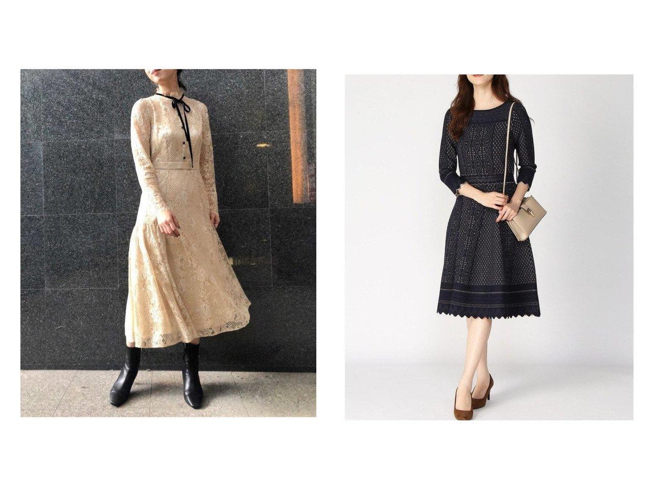 【ANAYI/アナイ】のバイカラーレースジャガードフレアOP&【CELFORD/セルフォード】のボウタイレースワンピース ワンピース・ドレスのおすすめ!人気、トレンド・レディースファッションの通販  おすすめで人気の流行・トレンド、ファッションの通販商品 メンズファッション・キッズファッション・インテリア・家具・レディースファッション・服の通販 founy(ファニー) https://founy.com/ ファッション Fashion レディースファッション WOMEN ワンピース Dress コンパクト サテン フィット フレア フロント ベロア レース スカラップ ストレッチ 長袖 |ID:crp329100000010205