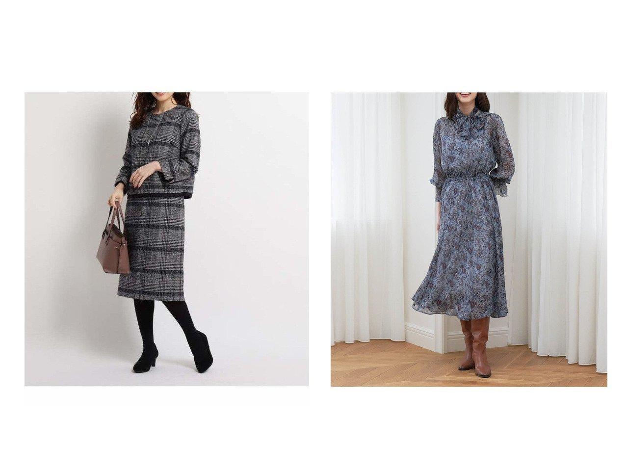 【ANAYI/アナイ】のペイズリープリントフレアワンピース&【Reflect/リフレクト】のツィーディーグレンセットアップ ワンピース・ドレスのおすすめ!人気、トレンド・レディースファッションの通販  おすすめで人気の流行・トレンド、ファッションの通販商品 メンズファッション・キッズファッション・インテリア・家具・レディースファッション・服の通販 founy(ファニー) https://founy.com/ ファッション Fashion レディースファッション WOMEN トップス Tops Tshirt アンサンブル Knit Ensemble カットソー Cut and Sewn ワンピース Dress アンサンブル エレガント カットソー クラシック セットアップ ツィード 無地 ギャザー クラシカル シルク スリット フェミニン フロント プリント ペイズリー  ID:crp329100000010224