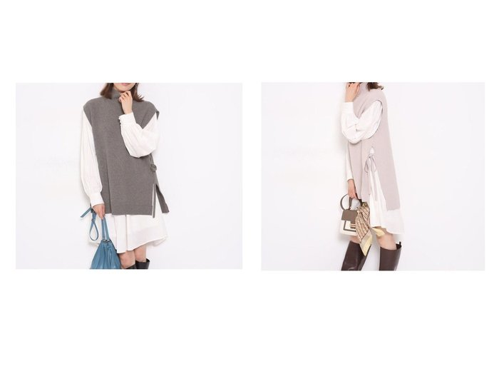 【Apuweiser-riche/アプワイザーリッシェ】のNewベストSETミニワンピース ワンピース・ドレスのおすすめ!人気、トレンド・レディースファッションの通販  おすすめファッション通販アイテム レディースファッション・服の通販 founy(ファニー) ファッション Fashion レディースファッション WOMEN アウター Coat Outerwear ベスト リボン |ID:crp329100000010239