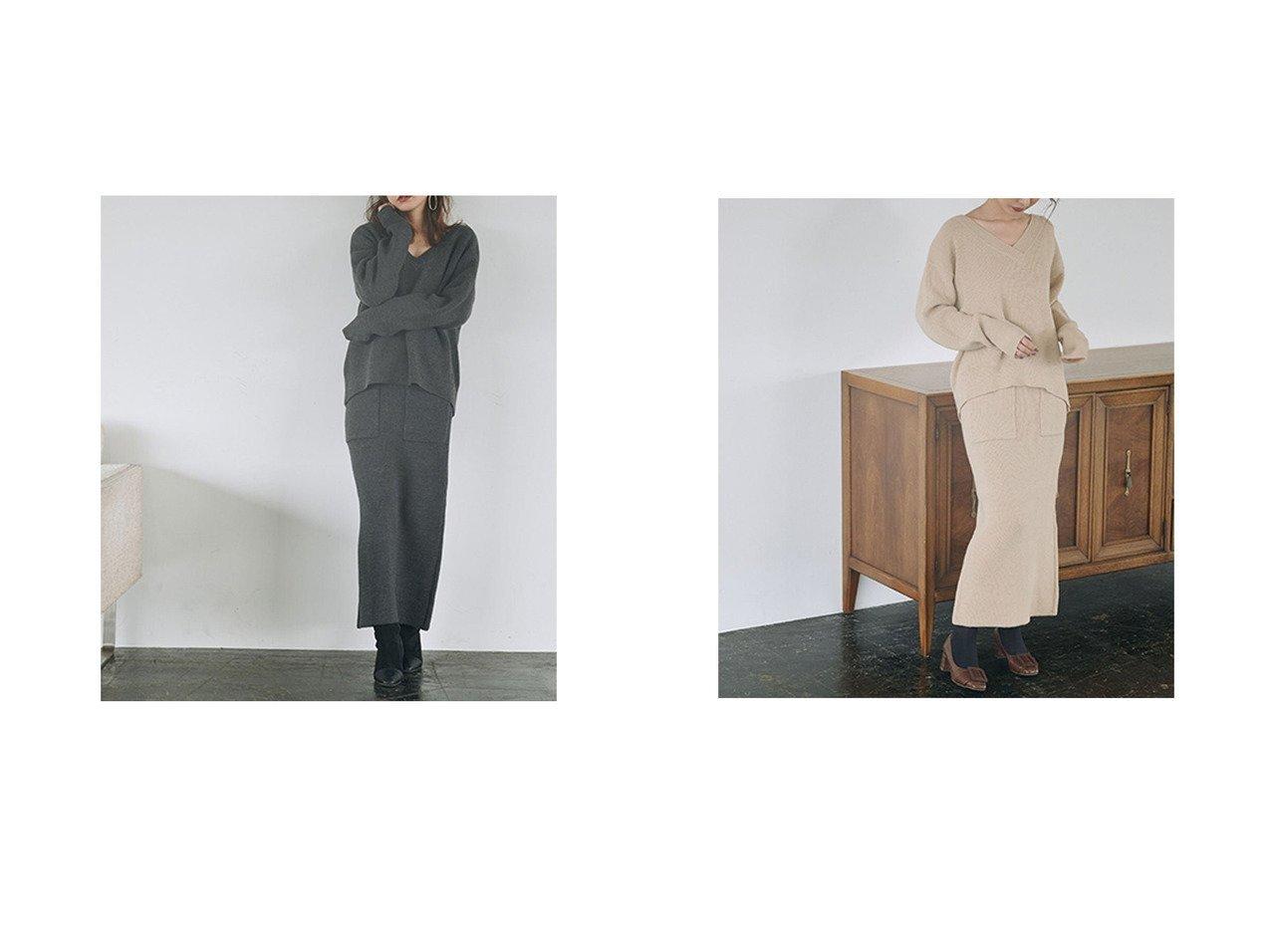 【Cherie Mona/シェリーモナ】のVネックニットSETUP ワンピース・ドレスのおすすめ!人気、トレンド・レディースファッションの通販  おすすめで人気の流行・トレンド、ファッションの通販商品 メンズファッション・キッズファッション・インテリア・家具・レディースファッション・服の通販 founy(ファニー) https://founy.com/ ファッション Fashion レディースファッション WOMEN トップス Tops Tshirt ニット Knit Tops Vネック V-Neck スリット セットアップ フロント ポケット |ID:crp329100000010242