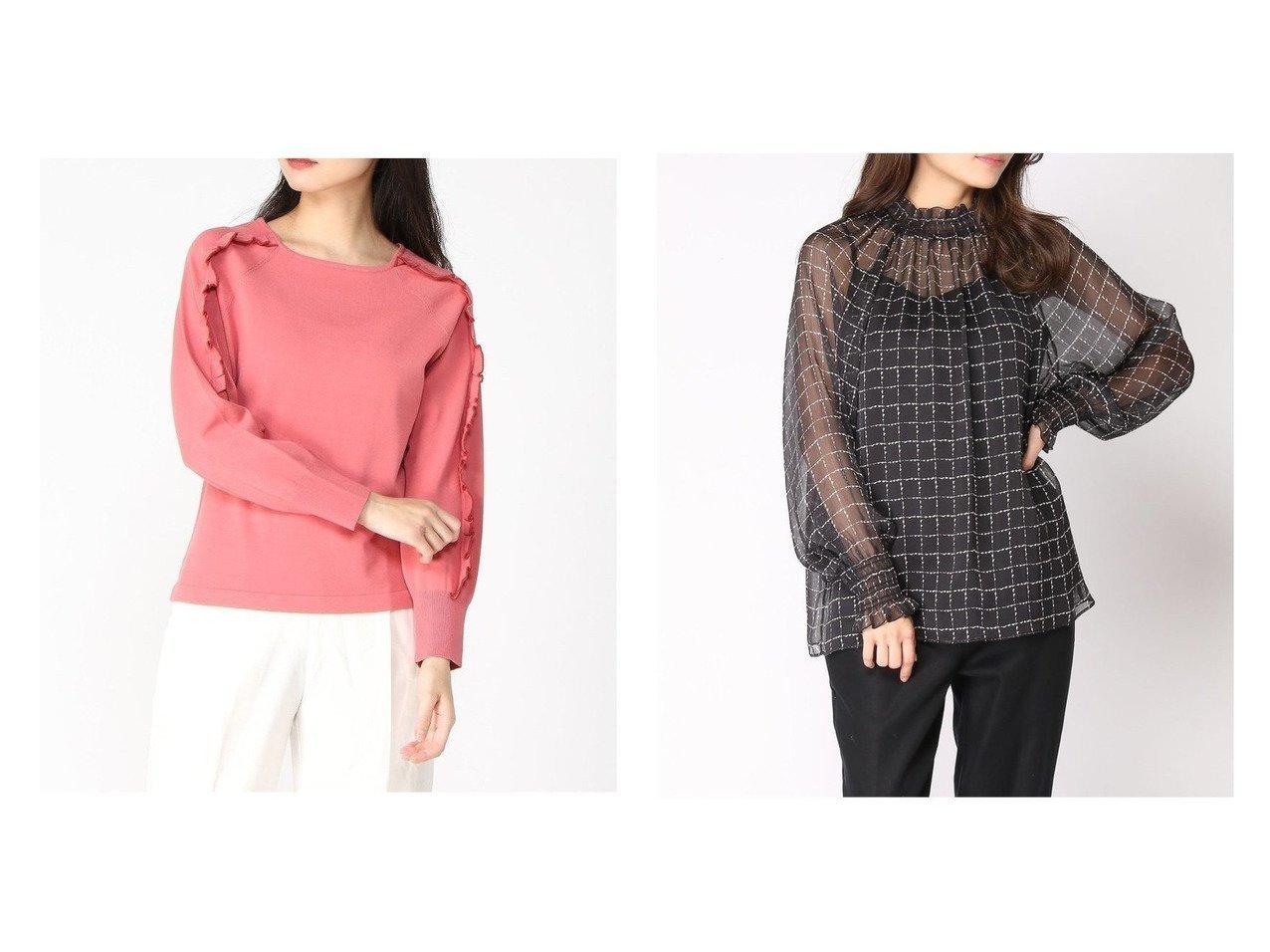 【ANAYI/アナイ】のレーヨンポリエステル配色フリルPO&ノットチェックPTシャーリングBL トップス・カットソーのおすすめ!人気、トレンド・レディースファッションの通販  おすすめで人気の流行・トレンド、ファッションの通販商品 メンズファッション・キッズファッション・インテリア・家具・レディースファッション・服の通販 founy(ファニー) https://founy.com/ ファッション Fashion レディースファッション WOMEN トップス Tops Tshirt ニット Knit Tops シャツ/ブラウス Shirts Blouses シェイプ ストレッチ フリル フレア ボトム 長袖 |ID:crp329100000010414