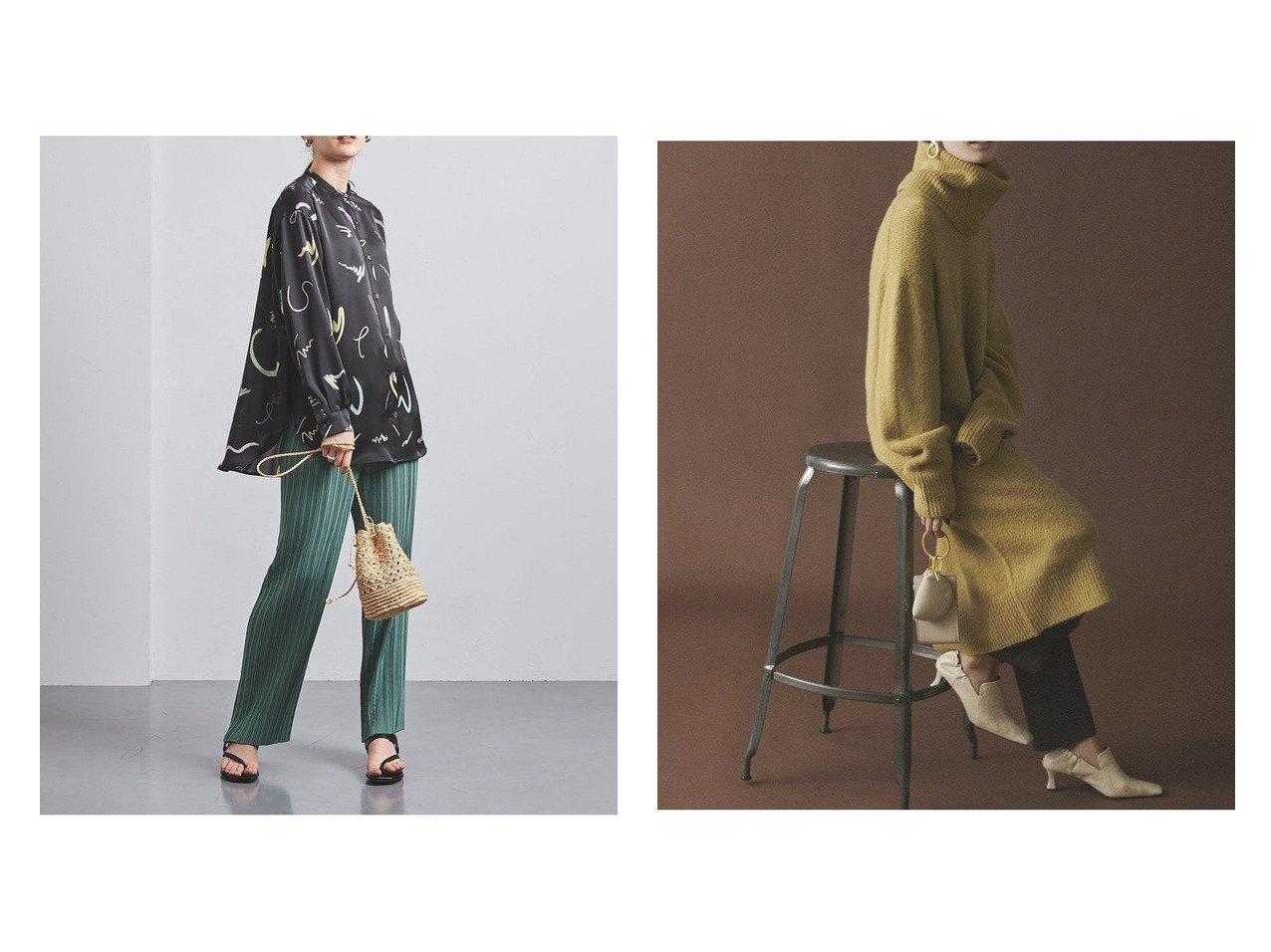 【Mila Owen/ミラオーウェン】のスヌード付き後ろスリットロングニット&【UNITED ARROWS/ユナイテッドアローズ】のUWMSC ペイントプリント シャツ† トップス・カットソーのおすすめ!人気、トレンド・レディースファッションの通販  おすすめで人気の流行・トレンド、ファッションの通販商品 メンズファッション・キッズファッション・インテリア・家具・レディースファッション・服の通販 founy(ファニー) https://founy.com/ ファッション Fashion レディースファッション WOMEN トップス Tops Tshirt シャツ/ブラウス Shirts Blouses ニット Knit Tops NEW・新作・新着・新入荷 New Arrivals インナー サロペット プリント 再入荷 Restock/Back in Stock/Re Arrival 長袖 12月号 スヌード スリット タートルネック ボトム ロング ワイド  ID:crp329100000010481