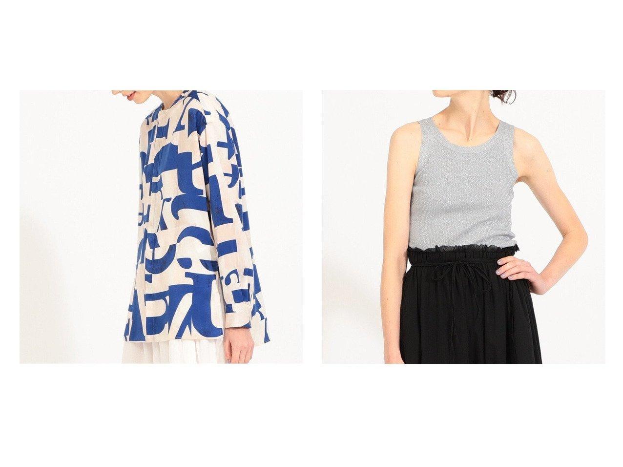 【BEAMS BOY/ビームス ボーイ】のNaval Switch Blouse&Rame Rib TankTop トップス・カットソーのおすすめ!人気、トレンド・レディースファッションの通販  おすすめで人気の流行・トレンド、ファッションの通販商品 メンズファッション・キッズファッション・インテリア・家具・レディースファッション・服の通販 founy(ファニー) https://founy.com/ ファッション Fashion レディースファッション WOMEN トップス Tops Tshirt シャツ/ブラウス Shirts Blouses ロング / Tシャツ T-Shirts カットソー Cut and Sewn スカーフ スモック スリット パッチワーク フロント プリント ミリタリー 長袖 インナー カットソー ストレッチ タンク |ID:crp329100000010515