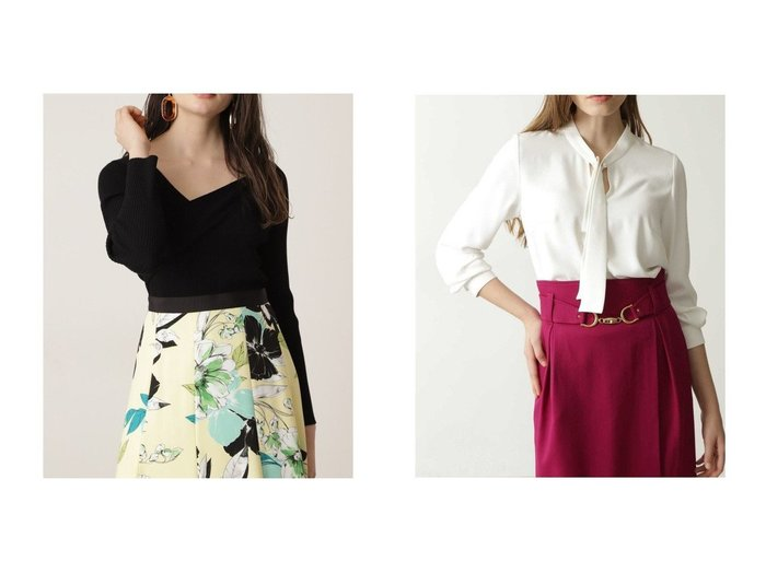 【Pinky&Dianne/ピンキーアンドダイアン】のパールピン付きボウブラウス&VネックコードRIBトップス トップス・カットソーのおすすめ!人気、トレンド・レディースファッションの通販  おすすめファッション通販アイテム レディースファッション・服の通販 founy(ファニー) ファッション Fashion レディースファッション WOMEN トップス Tops Tshirt ニット Knit Tops Vネック V-Neck シャツ/ブラウス Shirts Blouses アシンメトリー ストレッチ リブニット スタンダード バランス パール ワンポイント |ID:crp329100000010579