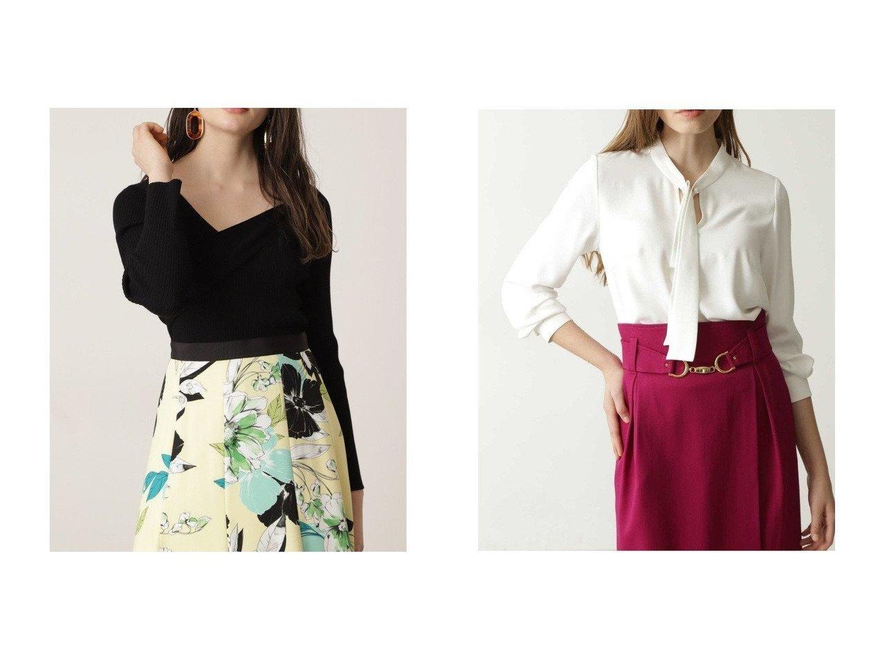 【Pinky&Dianne/ピンキーアンドダイアン】のパールピン付きボウブラウス&VネックコードRIBトップス トップス・カットソーのおすすめ!人気、トレンド・レディースファッションの通販  おすすめで人気の流行・トレンド、ファッションの通販商品 メンズファッション・キッズファッション・インテリア・家具・レディースファッション・服の通販 founy(ファニー) https://founy.com/ ファッション Fashion レディースファッション WOMEN トップス Tops Tshirt ニット Knit Tops Vネック V-Neck シャツ/ブラウス Shirts Blouses アシンメトリー ストレッチ リブニット スタンダード バランス パール ワンポイント |ID:crp329100000010579