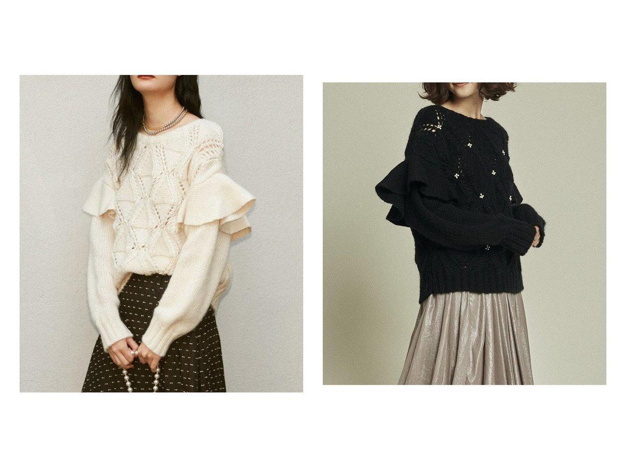 【Lily Brown/リリーブラウン】の[L.B CANDY STOCK]ビジューフリルニットトップス トップス・カットソーのおすすめ!人気、トレンド・レディースファッションの通販  おすすめで人気の流行・トレンド、ファッションの通販商品 メンズファッション・キッズファッション・インテリア・家具・レディースファッション・服の通販 founy(ファニー) https://founy.com/ ファッション Fashion レディースファッション WOMEN トップス Tops Tshirt ニット Knit Tops クラシカル ビジュー フリル ミックス モヘア |ID:crp329100000010594