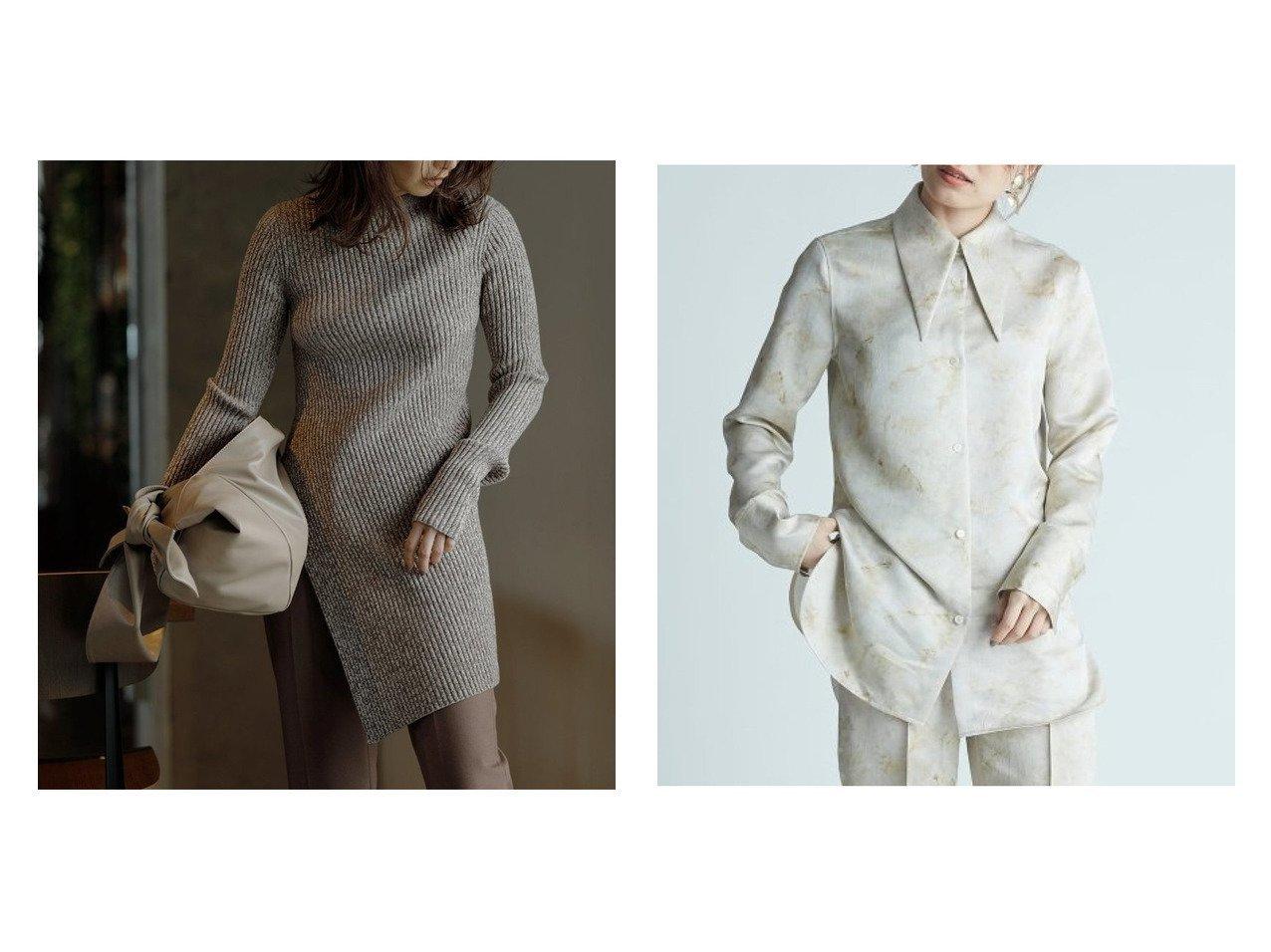【FRAY I.D/フレイ アイディー】のビッグカラーサテンシャツ&ワンサイドスリットロングプルオーバー トップス・カットソーのおすすめ!人気、トレンド・レディースファッションの通販  おすすめで人気の流行・トレンド、ファッションの通販商品 メンズファッション・キッズファッション・インテリア・家具・レディースファッション・服の通販 founy(ファニー) https://founy.com/ ファッション Fashion レディースファッション WOMEN トップス Tops Tshirt パーカ Sweats プルオーバー Pullover カットソー Cut and Sewn シャツ/ブラウス Shirts Blouses カシミヤ カットソー シンプル スリット チュニック パーカー マキシ ワイド サテン セットアップ ベーシック マーブル 無地 |ID:crp329100000010640