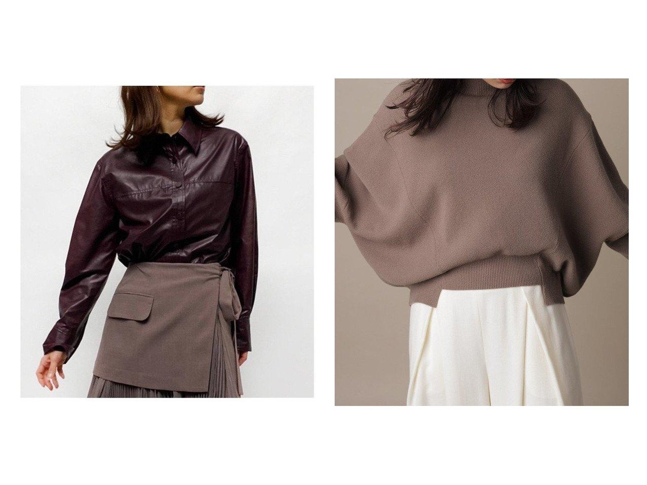 【FRAY I.D/フレイ アイディー】のレザーオーバーシャツ&ハイネックルーズニットプルオーバー トップス・カットソーのおすすめ!人気、トレンド・レディースファッションの通販  おすすめで人気の流行・トレンド、ファッションの通販商品 メンズファッション・キッズファッション・インテリア・家具・レディースファッション・服の通販 founy(ファニー) https://founy.com/ ファッション Fashion レディースファッション WOMEN トップス Tops Tshirt シャツ/ブラウス Shirts Blouses ニット Knit Tops プルオーバー Pullover フェイクレザー ボトム マニッシュ ミックス 長袖 カッティング スウェット ハイネック フィット リラックス  ID:crp329100000010666