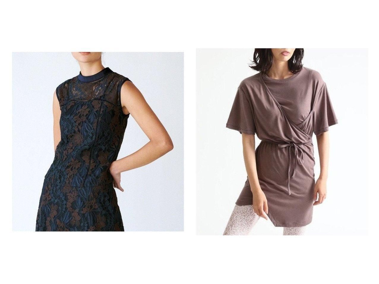 【FRAY I.D/フレイ アイディー】のレースノースリブラウス&FRAY I.Dxemmi Tシャツ トップス・カットソーのおすすめ!人気、トレンド・レディースファッションの通販  おすすめで人気の流行・トレンド、ファッションの通販商品 メンズファッション・キッズファッション・インテリア・家具・レディースファッション・服の通販 founy(ファニー) https://founy.com/ ファッション Fashion レディースファッション WOMEN トップス Tops Tshirt キャミソール / ノースリーブ No Sleeves シャツ/ブラウス Shirts Blouses ロング / Tシャツ T-Shirts カットソー Cut and Sewn インナー キャミソール スタンド スリット セットアップ ノースリーブ パイピング レース 洗える カシュクール カットソー 吸水 パープル フロント ブラウジング ヨガ レギンス  ID:crp329100000010667