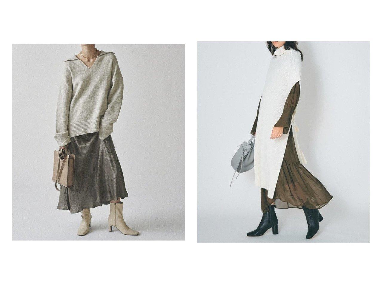 【FRAY I.D/フレイ アイディー】のウールカシミアニットポンチョ&【Mila Owen/ミラオーウェン】のスキッパー衿ニットプルオーバー トップス・カットソーのおすすめ!人気、トレンド・レディースファッションの通販  おすすめで人気の流行・トレンド、ファッションの通販商品 メンズファッション・キッズファッション・インテリア・家具・レディースファッション・服の通販 founy(ファニー) https://founy.com/ ファッション Fashion レディースファッション WOMEN トップス Tops Tshirt ニット Knit Tops プルオーバー Pullover アウター Coat Outerwear ポンチョ Ponchos ウォッシャブル カットソー スキッパー フェミニン カシミヤ カッティング ボトム レース  ID:crp329100000010673
