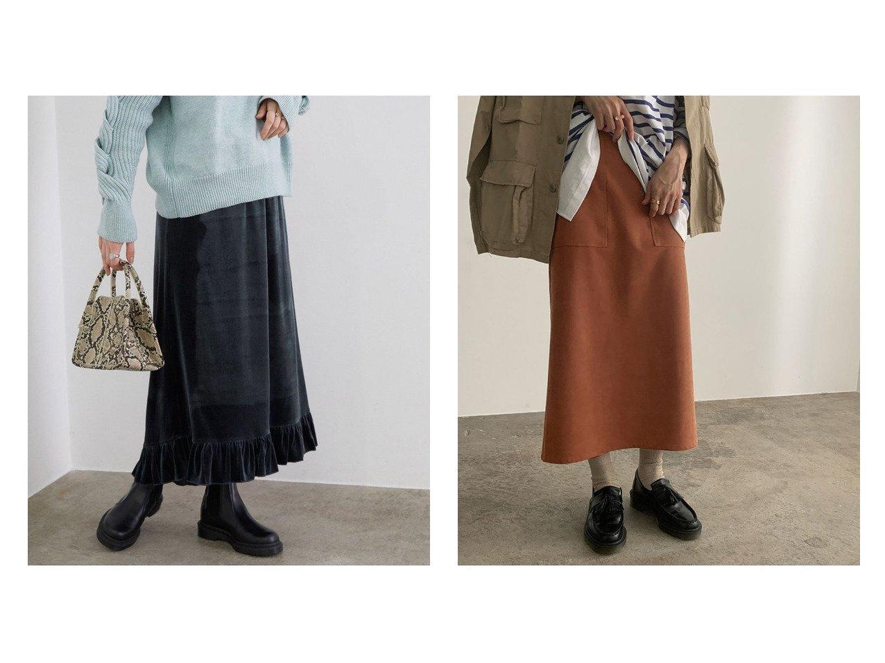 【ROPE' mademoiselle/ロペ マドモアゼル】のストレッチフェイクスエードタイトスカート&フリルヘムベロアロングスカート スカートのおすすめ!人気、トレンド・レディースファッションの通販 おすすめで人気の流行・トレンド、ファッションの通販商品 メンズファッション・キッズファッション・インテリア・家具・レディースファッション・服の通販 founy(ファニー) https://founy.com/ ファッション Fashion レディースファッション WOMEN スカート Skirt ロングスカート Long Skirt ヴィンテージ ギャザー シューズ ショート フリル ポケット ロング 春 Spring 秋 Autumn/Fall コンパクト ストレッチ ストレート スニーカー フェイクスエード フェミニン 冬 Winter  ID:crp329100000010777
