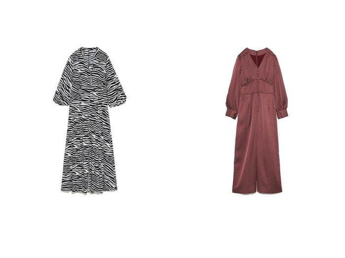【Lily Brown/リリーブラウン】のギャザーオールインワン&ボリュームロングワンピース ワンピース・ドレスのおすすめ!人気、トレンド・レディースファッションの通販  おすすめファッション通販アイテム インテリア・キッズ・メンズ・レディースファッション・服の通販 founy(ファニー) https://founy.com/ ファッション Fashion レディースファッション WOMEN ワンピース Dress オールインワン ワンピース All In One Dress オレンジ ガウン スマート スリーブ トレンド バランス フレア 無地 リラックス ロング ギャザー クロップド サテン ドット パイピング  ID:crp329100000010968
