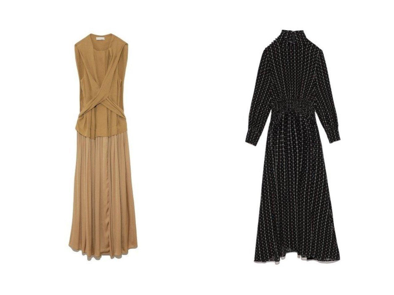 【FRAY I.D/フレイ アイディー】のハイネックショルダーボタンOP&【styling/スタイリング】のギャザードッキングドレス ワンピース・ドレスのおすすめ!人気、トレンド・レディースファッションの通販 おすすめで人気の流行・トレンド、ファッションの通販商品 メンズファッション・キッズファッション・インテリア・家具・レディースファッション・服の通販 founy(ファニー) https://founy.com/ ファッション Fashion レディースファッション WOMEN ワンピース Dress ドレス Party Dresses マキシワンピース Maxi Dress ギャザー ドッキング ドレス フロント マキシ リボン ロング クラシカル シャーリング ハイネック フィット |ID:crp329100000011515