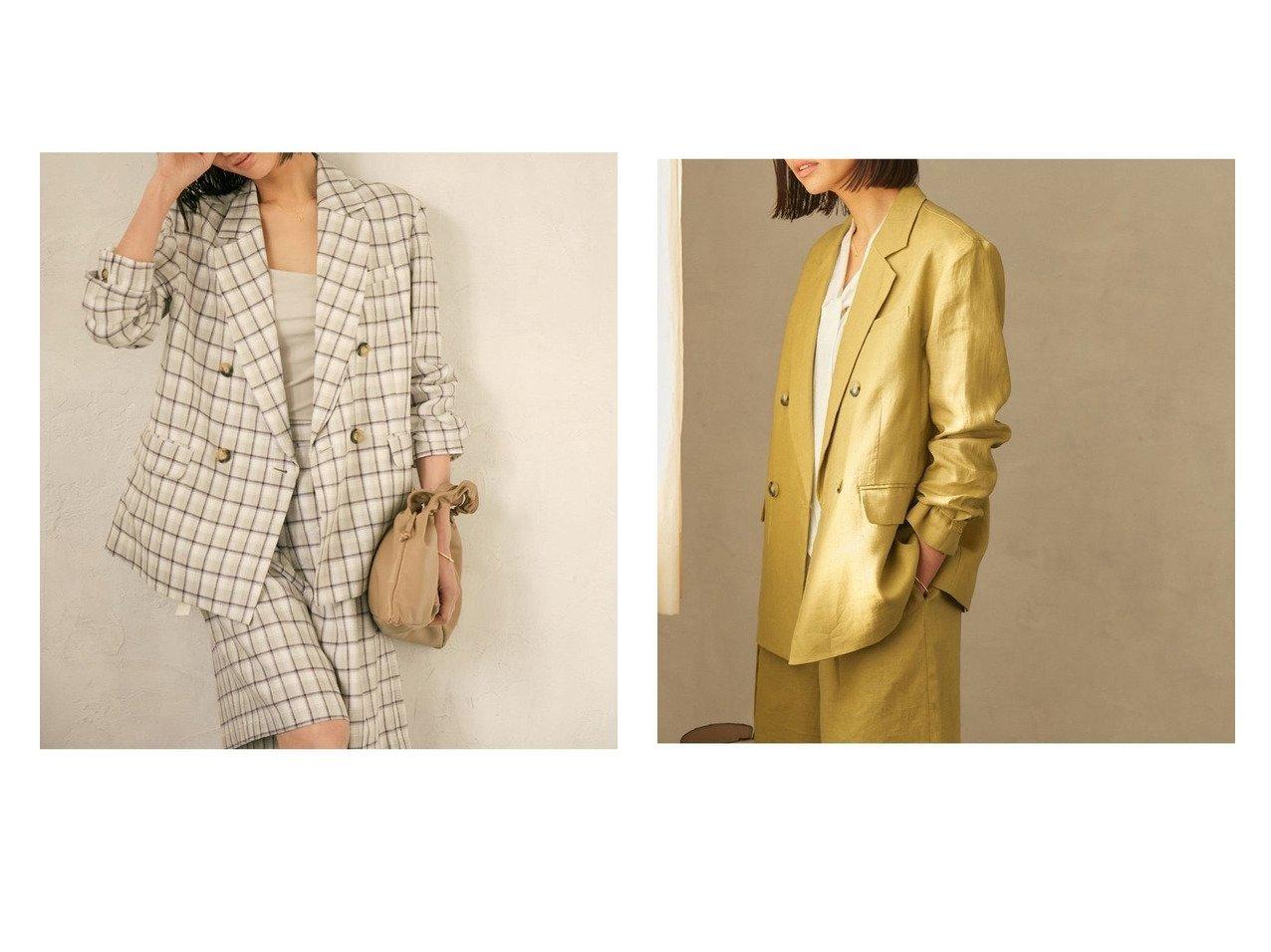 【ROPE/ロペ】の【セット対応】リネンダブルブレストジャケット アウターのおすすめ!人気、トレンド・レディースファッションの通販  おすすめで人気の流行・トレンド、ファッションの通販商品 メンズファッション・キッズファッション・インテリア・家具・レディースファッション・服の通販 founy(ファニー) https://founy.com/ ファッション Fashion レディースファッション WOMEN アウター Coat Outerwear コート Coats ジャケット Jackets テーラードジャケット Tailored Jackets エアリー ショルダー ショート ジャケット セットアップ チェック テーラード デニム ドレス ドロップ バランス フレア プリーツ ボトム ポケット リネン NEW・新作・新着・新入荷 New Arrivals |ID:crp329100000012745