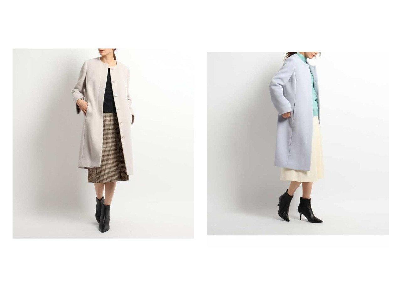 【COUP DE CHANCE/クード シャンス】のダブルビーバーノーカラーコート アウターのおすすめ!人気、トレンド・レディースファッションの通販  おすすめで人気の流行・トレンド、ファッションの通販商品 メンズファッション・キッズファッション・インテリア・家具・レディースファッション・服の通販 founy(ファニー) https://founy.com/ ファッション Fashion レディースファッション WOMEN アウター Coat Outerwear コート Coats ジャケット Jackets ノーカラージャケット No Collar Leather Jackets ジャケット フロント ロング |ID:crp329100000012753