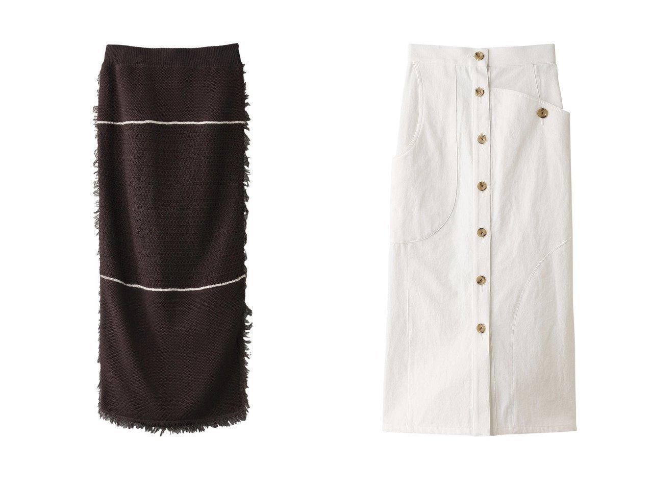 【ADAWAS/アダワス】のコットンシルクフリンジタイトスカート&【AKIRANAKA/アキラナカ】のイレギュラーポケットホワイトデニムスカート スカートのおすすめ!人気、トレンド・レディースファッションの通販 おすすめで人気の流行・トレンド、ファッションの通販商品 メンズファッション・キッズファッション・インテリア・家具・レディースファッション・服の通販 founy(ファニー) https://founy.com/ ファッション Fashion レディースファッション WOMEN スカート Skirt ロングスカート Long Skirt デニムスカート Denim Skirts 2021年 2021 2021 春夏 S/S SS Spring/Summer 2021 S/S 春夏 SS Spring/Summer スリット セットアップ タイトスカート タンク フィット フリンジ ボーダー ロング 春 Spring |ID:crp329100000012917