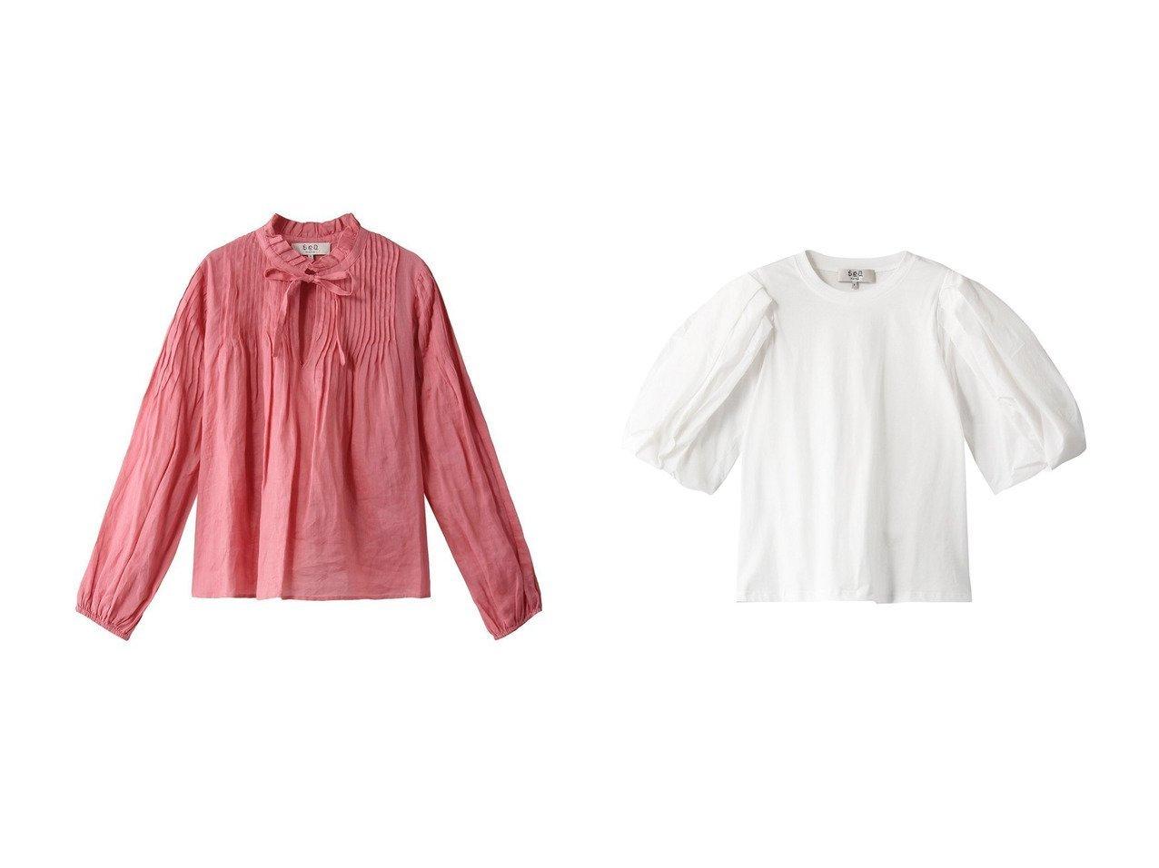 【Sea NEW YORK/シー ニューヨーク】のHattie ラミーロングスリーブピンタックブラウス&Nadja タフタスリーブTシャツ トップス・カットソーのおすすめ!人気、トレンド・レディースファッションの通販 おすすめで人気の流行・トレンド、ファッションの通販商品 メンズファッション・キッズファッション・インテリア・家具・レディースファッション・服の通販 founy(ファニー) https://founy.com/ ファッション Fashion レディースファッション WOMEN トップス Tops Tshirt シャツ/ブラウス Shirts Blouses 帽子 Hats ロング / Tシャツ T-Shirts カットソー Cut and Sewn 2021年 2021 2021 春夏 S/S SS Spring/Summer 2021 S/S 春夏 SS Spring/Summer エアリー スリット スリーブ リネン リボン ロング 春 Spring |ID:crp329100000013103