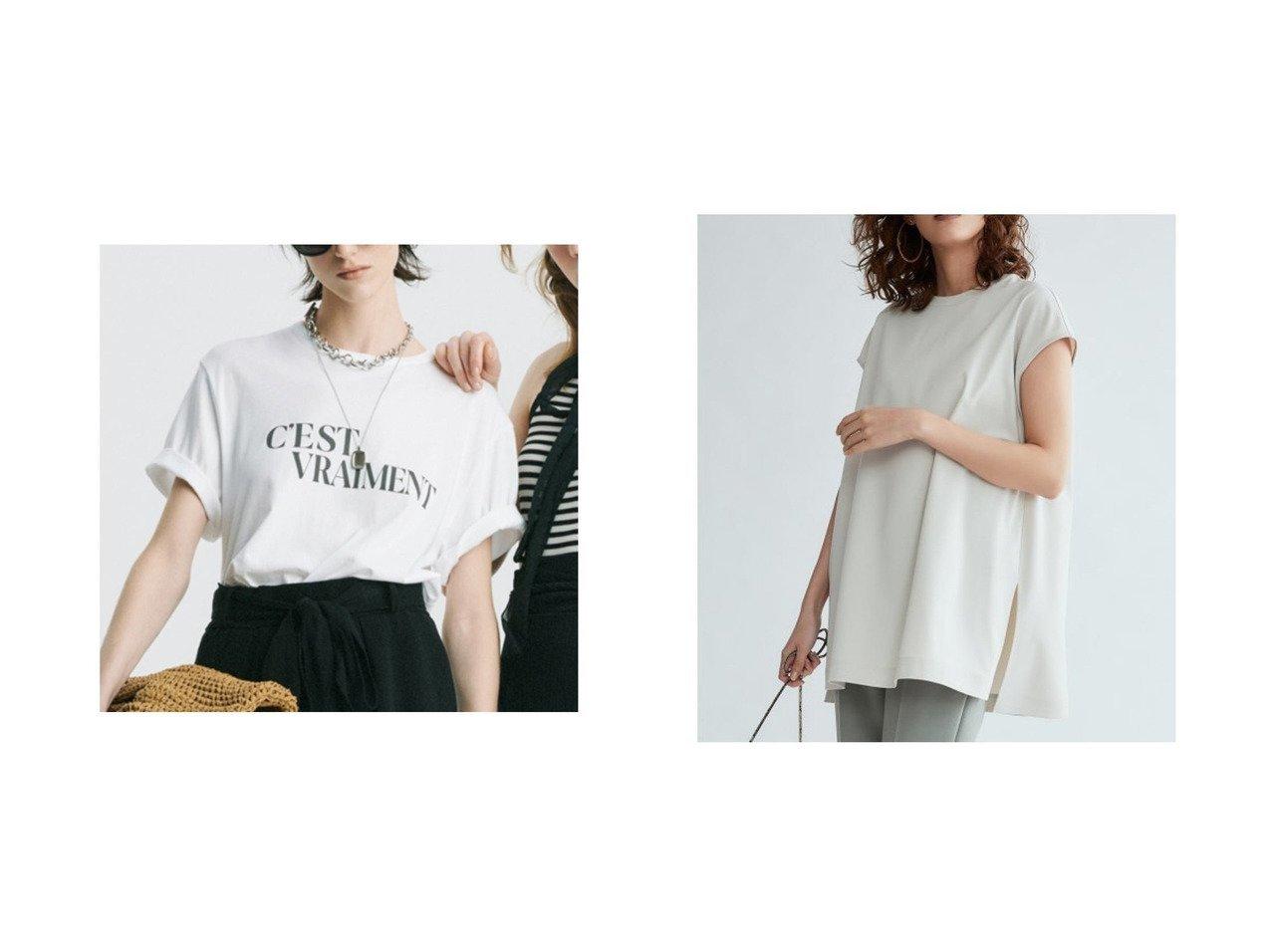 【Mila Owen/ミラオーウェン】のTシャツライクノースリーブブラウス&グラフィックロゴプリントTシャツ トップス・カットソーのおすすめ!人気、トレンド・レディースファッションの通販 おすすめで人気の流行・トレンド、ファッションの通販商品 メンズファッション・キッズファッション・インテリア・家具・レディースファッション・服の通販 founy(ファニー) https://founy.com/ ファッション Fashion レディースファッション WOMEN トップス Tops Tshirt シャツ/ブラウス Shirts Blouses ロング / Tシャツ T-Shirts キャミソール / ノースリーブ No Sleeves インナー ヴィンテージ グラフィック コレクション ジャケット スタイリッシュ スマート フロント メランジ スリット スリーブ フレンチ 半袖 リラックス |ID:crp329100000013147