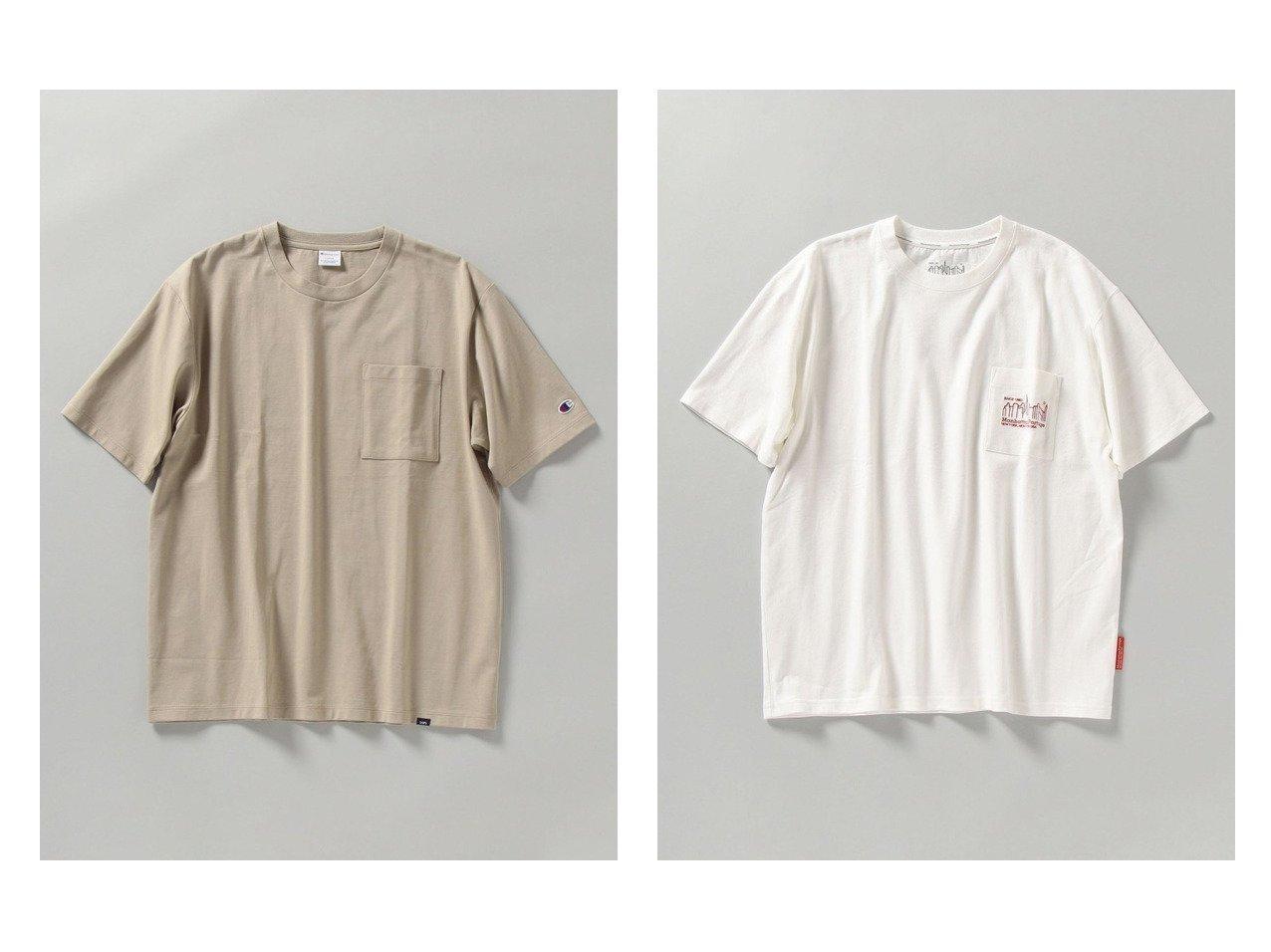 【SHIPS / MEN/シップス】の【SHIPS別注】Manhattan Portage NYC バックプリント ポケット Tシャツ&【SHIPS別注】Champion マーセライズドコットン リラックスフィット Tシャツ 【MEN】別注・限定・コラボなど、おすすめ!人気トレンド・メンズファッション通販  おすすめで人気の流行・トレンド、ファッションの通販商品 メンズファッション・キッズファッション・インテリア・家具・レディースファッション・服の通販 founy(ファニー) https://founy.com/ ファッション Fashion メンズファッション MEN トップス Tops Tshirt Men シャツ Shirts カットソー 今季 シルク シルケット スウェット パターン フィット ベーシック 別注 リラックス  ID:crp329100000013944