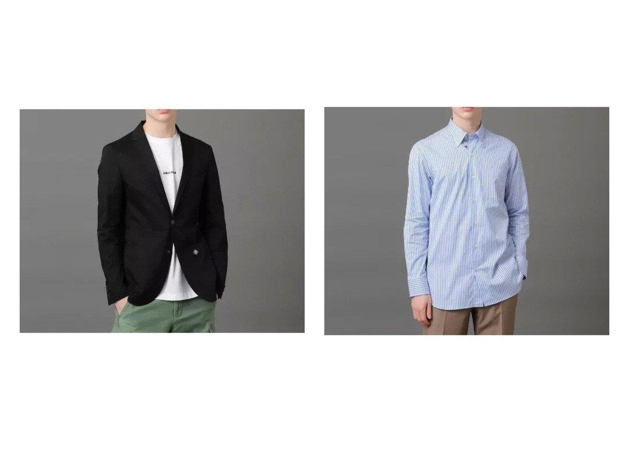 【DRESSTERIOR / MEN/ドレステリア】のアイスコットンテーラードジャケット&BDストライプシャツ 【MEN】別注・限定・コラボなど、おすすめ!人気トレンド・メンズファッション通販  おすすめで人気の流行・トレンド、ファッションの通販商品 メンズファッション・キッズファッション・インテリア・家具・レディースファッション・服の通販 founy(ファニー) https://founy.com/ ファッション Fashion メンズファッション MEN カットソー コンパクト シェイプ ショルダー ジャケット セットアップ テーラード ドレス 別注 メンズ  ID:crp329100000013978