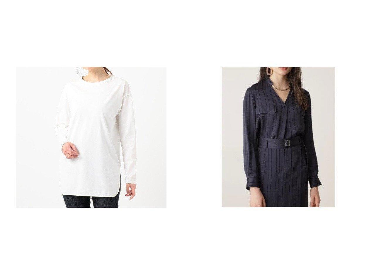 【NIJYUSANKU/23区】の【洗える】Cotton Jersey カットソー&【Pinky&Dianne/ピンキーアンドダイアン】のカラミストライプシャツ トップス・カットソーのおすすめ!人気、トレンド・レディースファッションの通販  おすすめで人気の流行・トレンド、ファッションの通販商品 メンズファッション・キッズファッション・インテリア・家具・レディースファッション・服の通販 founy(ファニー) https://founy.com/ ファッション Fashion レディースファッション WOMEN トップス Tops Tshirt カットソー Cut and Sewn シャツ/ブラウス Shirts Blouses 送料無料 Free Shipping 2020年 2020 2020 春夏 S/S SS Spring/Summer 2020 S/S 春夏 SS Spring/Summer カットソー パーカー 洗える サテン ストライプ セットアップ トレンド パッチ ポケット |ID:crp329100000014227