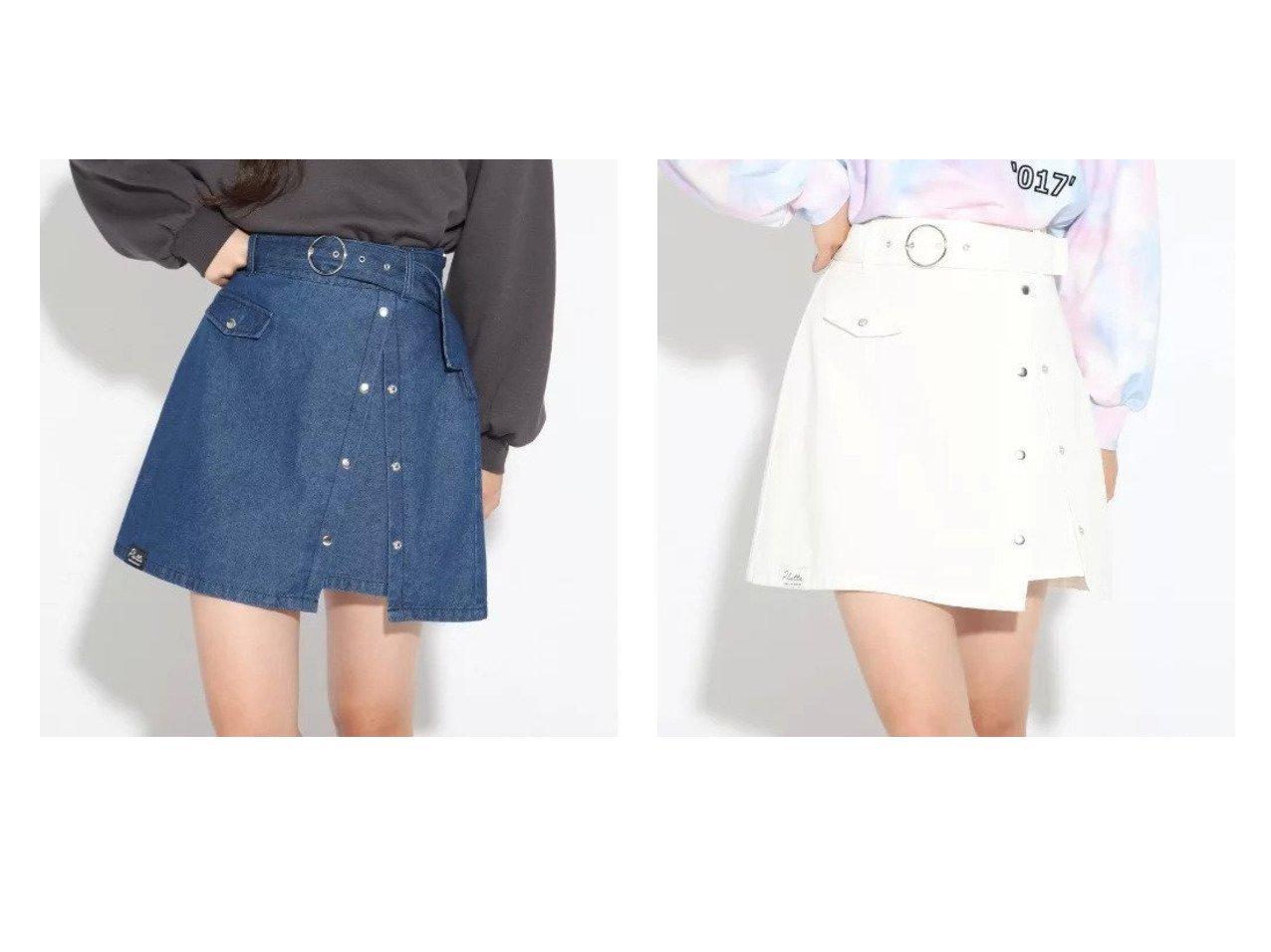 【PINK-latte / KIDS/ピンク ラテ】の太ベルトドットボタンスカート 【KIDS】子供服のおすすめ!人気トレンド・キッズファッションの通販  おすすめで人気の流行・トレンド、ファッションの通販商品 メンズファッション・キッズファッション・インテリア・家具・レディースファッション・服の通販 founy(ファニー) https://founy.com/ ファッション Fashion キッズファッション KIDS インナー スリット デニム ポケット ミニスカート メタル ラウンド  ID:crp329100000014279