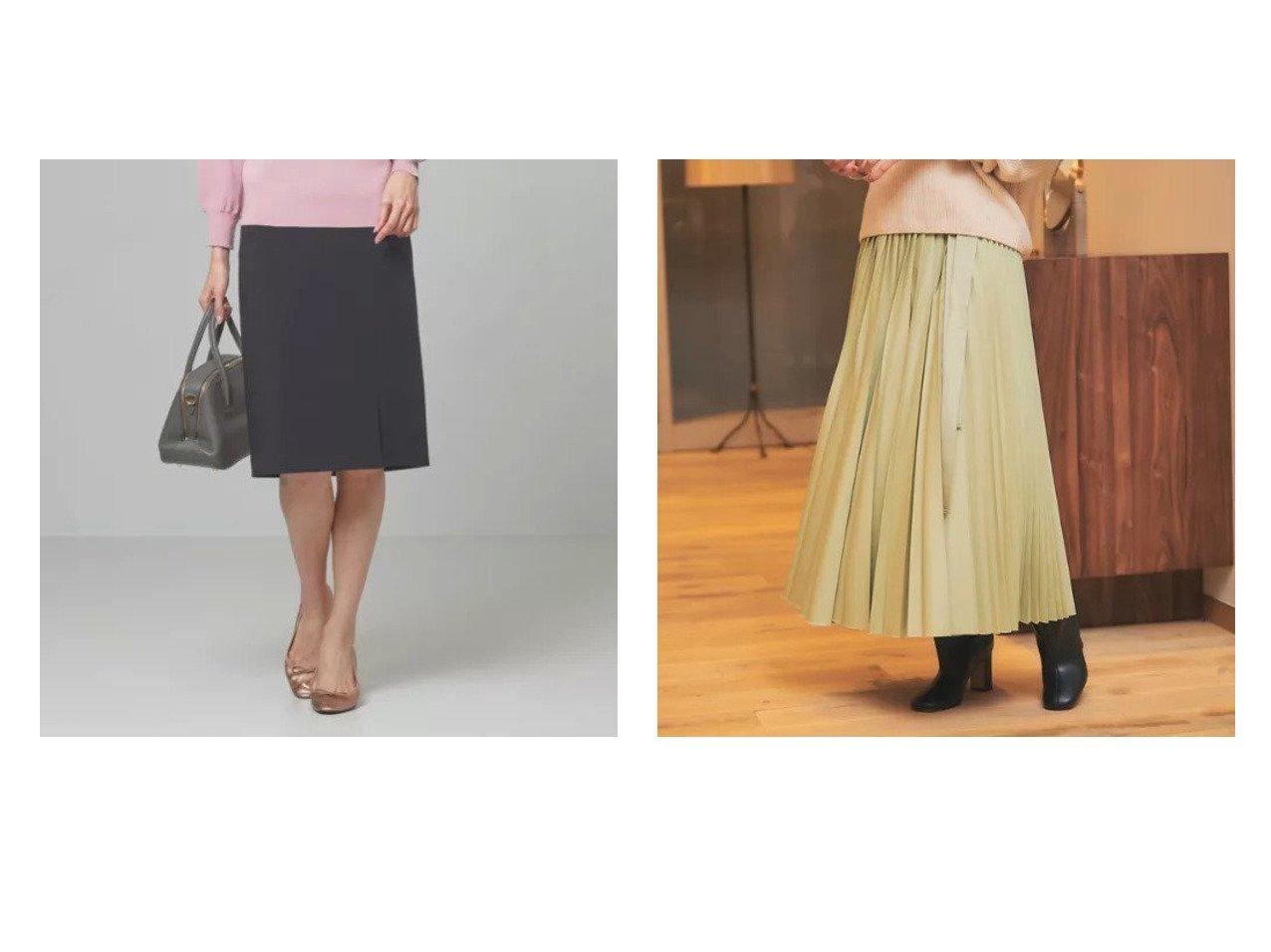 【THE STATION STORE/ザ ステーション ストア ユナイテッドアローズ】のパウダリー フロントスリット スカート -手洗い可能-&【Rouge vif/ルージュ ヴィフ】のラッププリーツスカート スカートのおすすめ!人気、トレンド・レディースファッションの通販 おすすめで人気の流行・トレンド、ファッションの通販商品 メンズファッション・キッズファッション・インテリア・家具・レディースファッション・服の通販 founy(ファニー) https://founy.com/ ファッション Fashion レディースファッション WOMEN スカート Skirt プリーツスカート Pleated Skirts プリーツ マキシ リボン ロング 冬 Winter |ID:crp329100000014447