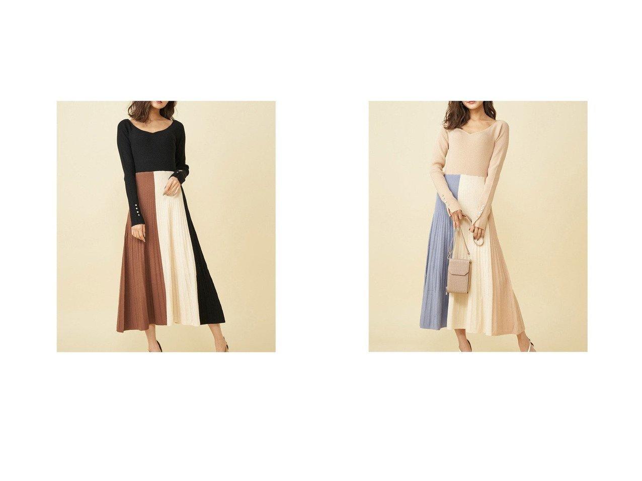 【ROYAL PARTY/ロイヤルパーティー】のVネック配色ニットフレアワンピース ワンピース・ドレスのおすすめ!人気、トレンド・レディースファッションの通販 おすすめで人気の流行・トレンド、ファッションの通販商品 メンズファッション・キッズファッション・インテリア・家具・レディースファッション・服の通販 founy(ファニー) https://founy.com/ ファッション Fashion レディースファッション WOMEN ワンピース Dress 2021年 2021 2021 春夏 S/S SS Spring/Summer 2021 S/S 春夏 SS Spring/Summer エレガント デコルテ フェミニン フレア プリーツ モダン 春 Spring  ID:crp329100000014781