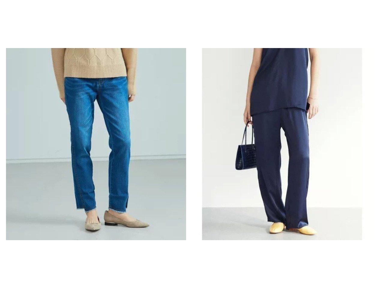 【Rouge vif/ルージュ ヴィフ】の【Mylanka】切りっぱなし風デニムパンツ&【GALLARDAGALANTE/ガリャルダガランテ】のシルキーサテンイージーパンツ パンツのおすすめ!人気、トレンド・レディースファッションの通販 おすすめで人気の流行・トレンド、ファッションの通販商品 メンズファッション・キッズファッション・インテリア・家具・レディースファッション・服の通販 founy(ファニー) https://founy.com/ ファッション Fashion レディースファッション WOMEN パンツ Pants デニムパンツ Denim Pants デニム くるぶし サテン シューズ シルク ストレート セットアップ タンブラー フラット ポケット ワイド |ID:crp329100000015264