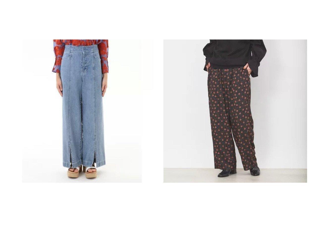 【GRACE CONTINENTAL/グレース コンチネンタル】のセンタースリットデニムパンツ&【Rouge vif/ルージュ ヴィフ】の【WEB&一部店舗限定】プリントイージーパンツ パンツのおすすめ!人気、トレンド・レディースファッションの通販 おすすめで人気の流行・トレンド、ファッションの通販商品 メンズファッション・キッズファッション・インテリア・家具・レディースファッション・服の通販 founy(ファニー) https://founy.com/ ファッション Fashion レディースファッション WOMEN パンツ Pants デニムパンツ Denim Pants デニム クラシカル コンパクト サテン ストレート バランス プリント ワイド |ID:crp329100000015281