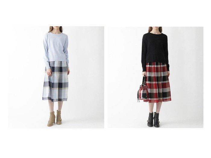 【BLUE LABEL CRESTBRIDGE/ブルーレーベル クレストブリッジ】のクレストブリッジチェックプリーツスカートニットセットアップ スカートのおすすめ!人気、トレンド・レディースファッションの通販 おすすめファッション通販アイテム インテリア・キッズ・メンズ・レディースファッション・服の通販 founy(ファニー) https://founy.com/ ファッション Fashion レディースファッション WOMEN セットアップ Setup スカート Skirt スカート Skirt プリーツスカート Pleated Skirts NEW・新作・新着・新入荷 New Arrivals シンプル セットアップ フェミニン プリーツ 春 Spring 無地 |ID:crp329100000015307