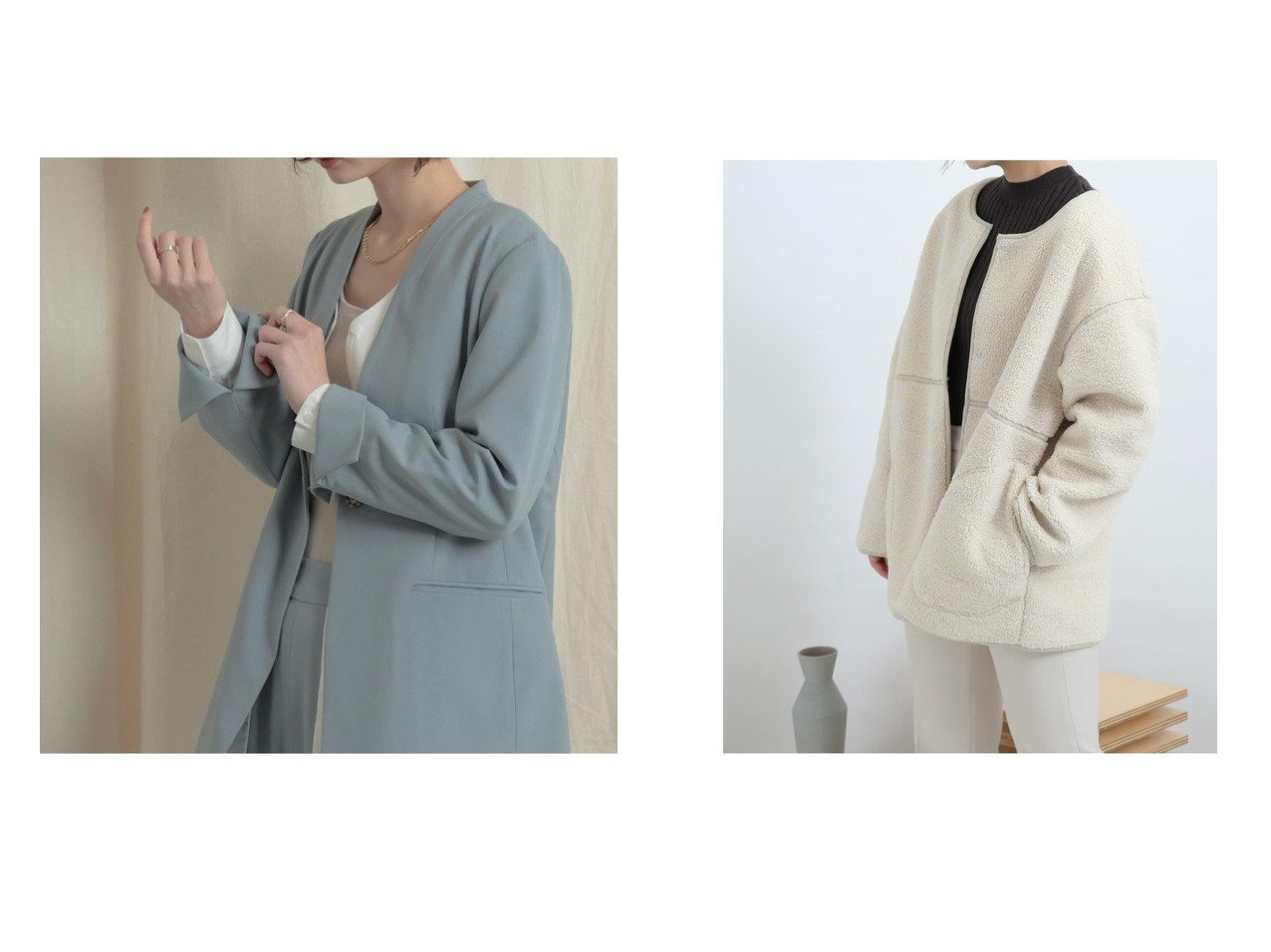【SENSE OF PLACE / URBAN RESEARCH/センス オブ プレイス】の【WEB限定】リバーシブルボアジャケット&ノーカラージャケット アウターのおすすめ!人気、トレンド・レディースファッションの通販 おすすめで人気の流行・トレンド、ファッションの通販商品 メンズファッション・キッズファッション・インテリア・家具・レディースファッション・服の通販 founy(ファニー) https://founy.com/ ファッション Fashion レディースファッション WOMEN アウター Coat Outerwear コート Coats ジャケット Jackets ノーカラージャケット No Collar Leather Jackets ジャケット セットアップ デコルテ トレンド ポケット 春 Spring ハイネック パイピング マフラー リバーシブル ルーズ ロング 人気  ID:crp329100000015458