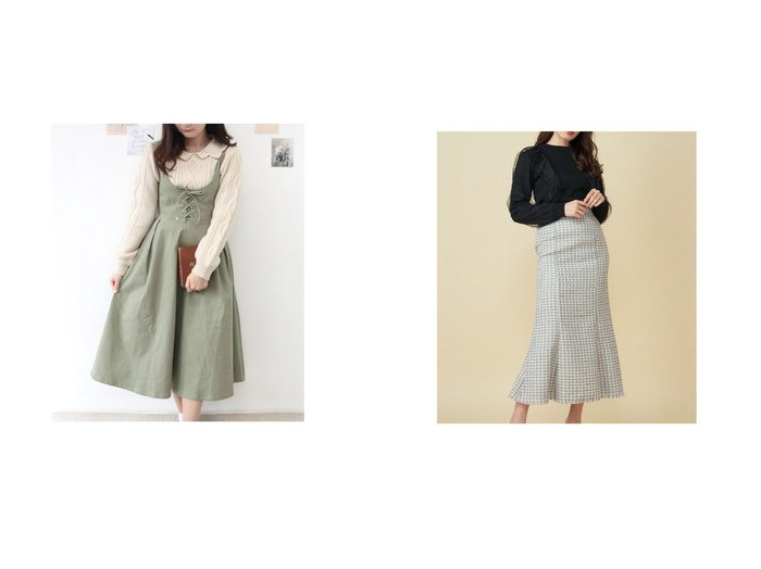 【MiiA/ミーア】のツイードマーメイドスカート&【Fi.n.t/フィント】のフロントレースアップUネックジャンパースカート スカートのおすすめ!人気、トレンド・レディースファッションの通販  おすすめファッション通販アイテム レディースファッション・服の通販 founy(ファニー) ファッション Fashion レディースファッション WOMEN スカート Skirt 2020年 2020 2020-2021 秋冬 A/W AW Autumn/Winter / FW Fall-Winter 2020-2021 A/W 秋冬 AW Autumn/Winter / FW Fall-Winter インナー クラシカル フロント レース ロング スウェット ツイード フィット フレア |ID:crp329100000015610