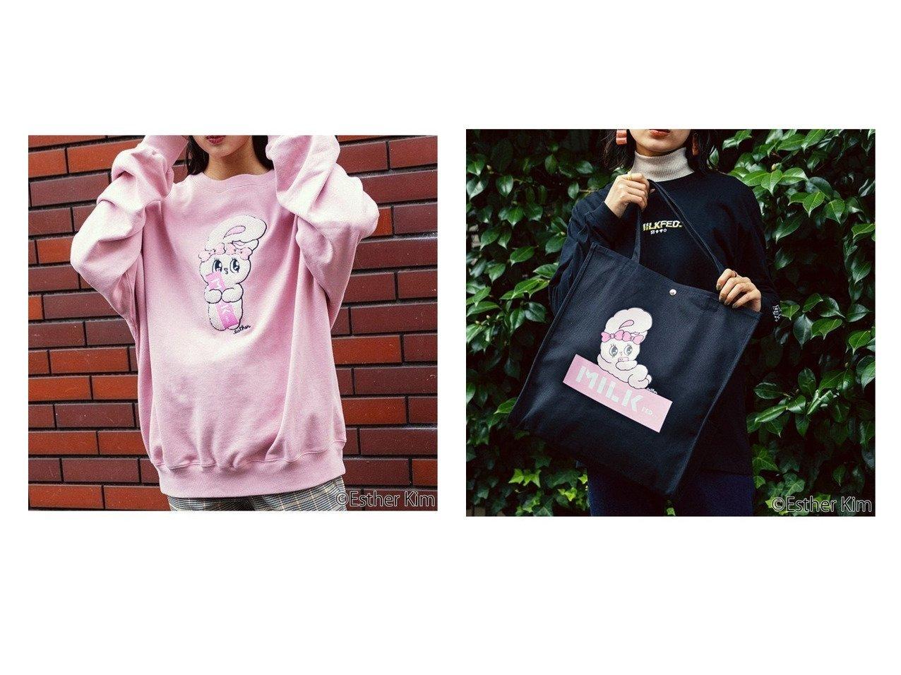 【MILKFED./ミルクフェド】のMILKFED. x Esther Bunny TOTE&ESTHER BUNNY SWEAT T 別注・限定・コラボなど、おすすめ!人気トレンド・レディースファッション通販 おすすめで人気の流行・トレンド、ファッションの通販商品 メンズファッション・キッズファッション・インテリア・家具・レディースファッション・服の通販 founy(ファニー) https://founy.com/ ファッション Fashion レディースファッション WOMEN トップス Tops Tshirt シャツ/ブラウス Shirts Blouses パーカ Sweats ロング / Tシャツ T-Shirts スウェット Sweat カットソー Cut and Sewn バッグ Bag カットソー キャラクター コラボ ショルダー スウェット スタンダード デニム ドロップ フェミニン リラックス ロング NEW・新作・新着・新入荷 New Arrivals キャンバス ポケット |ID:crp329100000015789